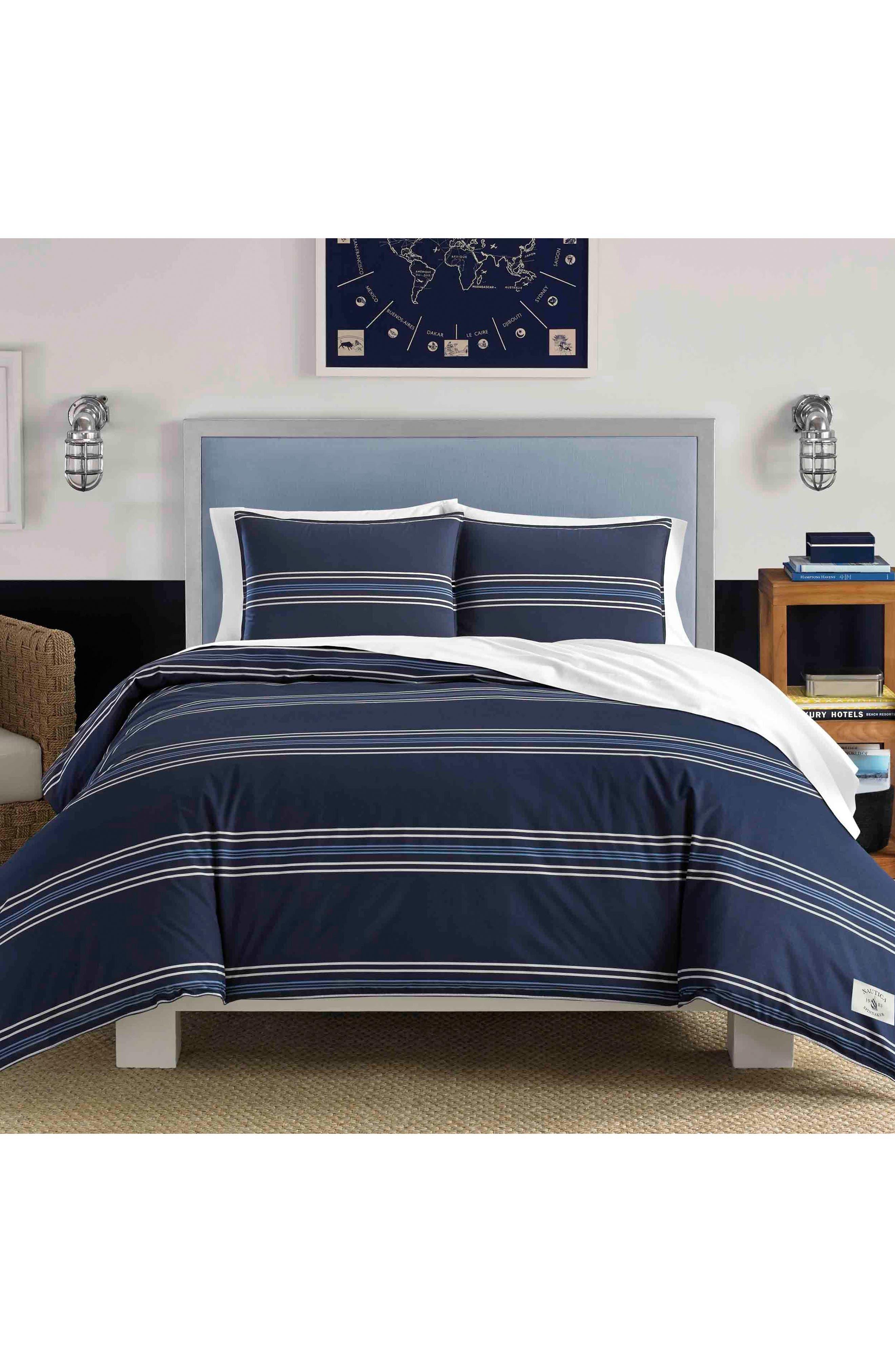 NAUTICA, Acton Comforter & Sham Set, Main thumbnail 1, color, NAVY
