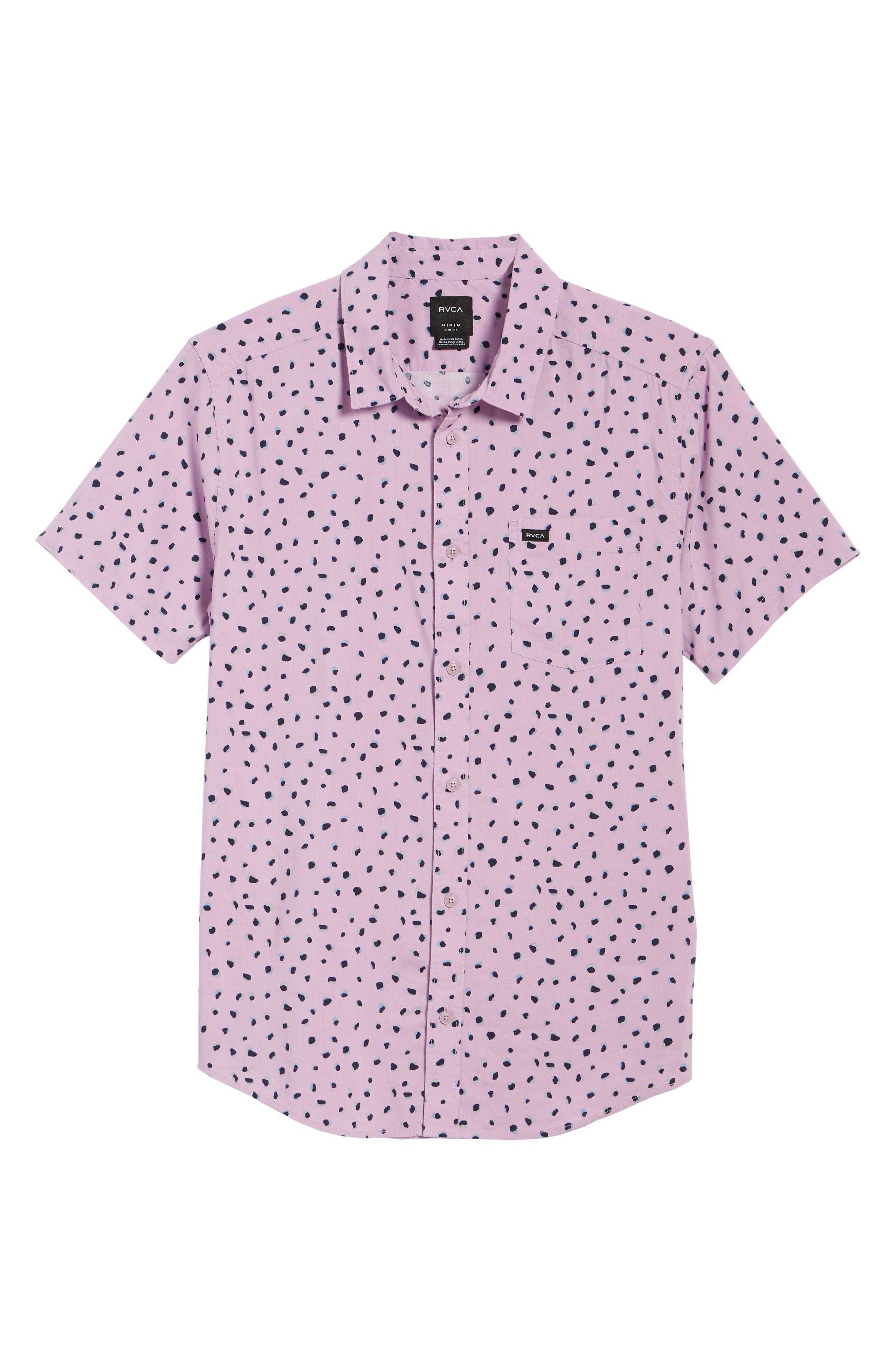 RVCA Shake Along Woven Shirt, Main, color, LAVENDER