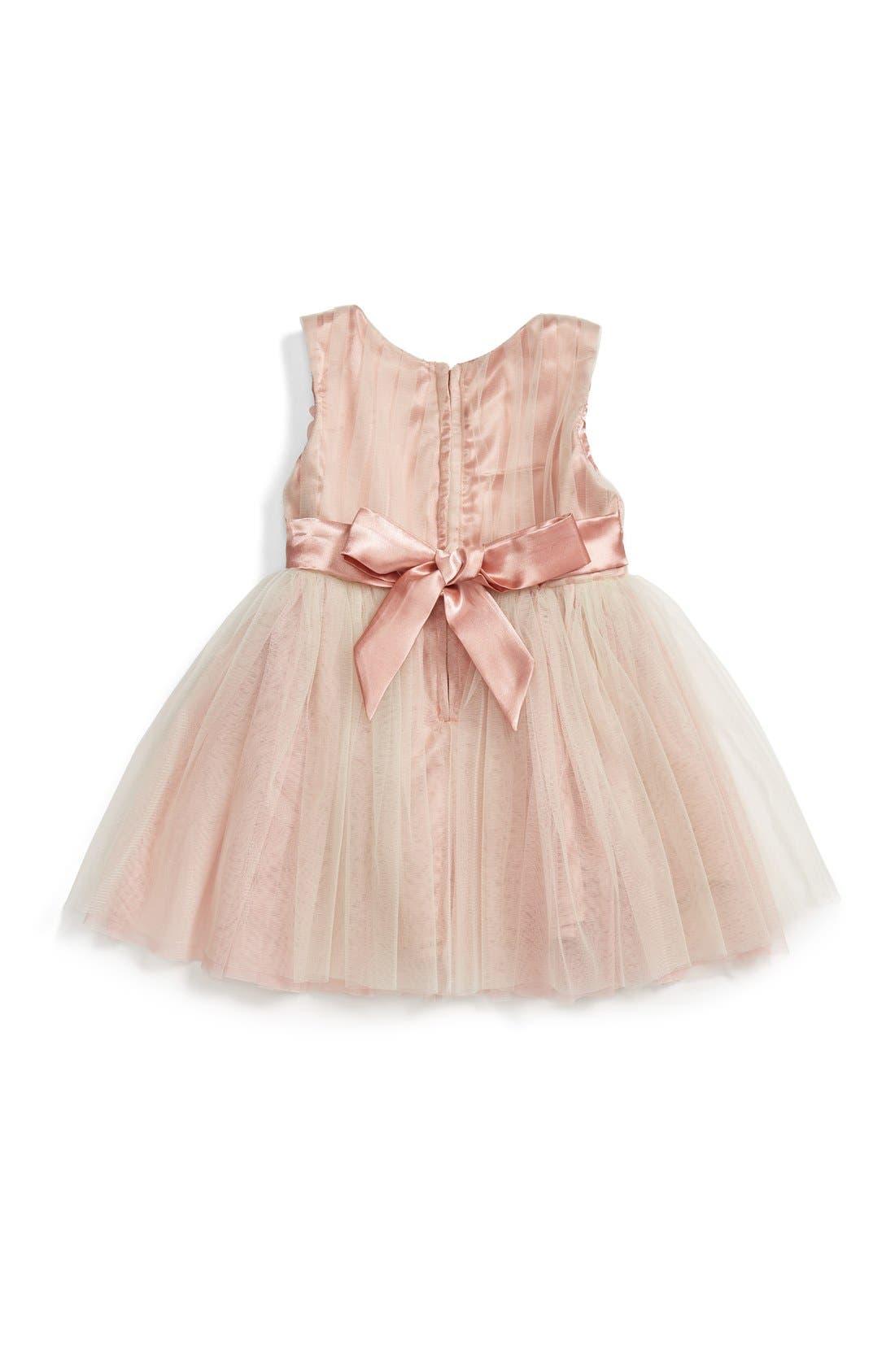 POPATU, Sleeveless Rosette Tulle Dress, Alternate thumbnail 4, color, TAUPE