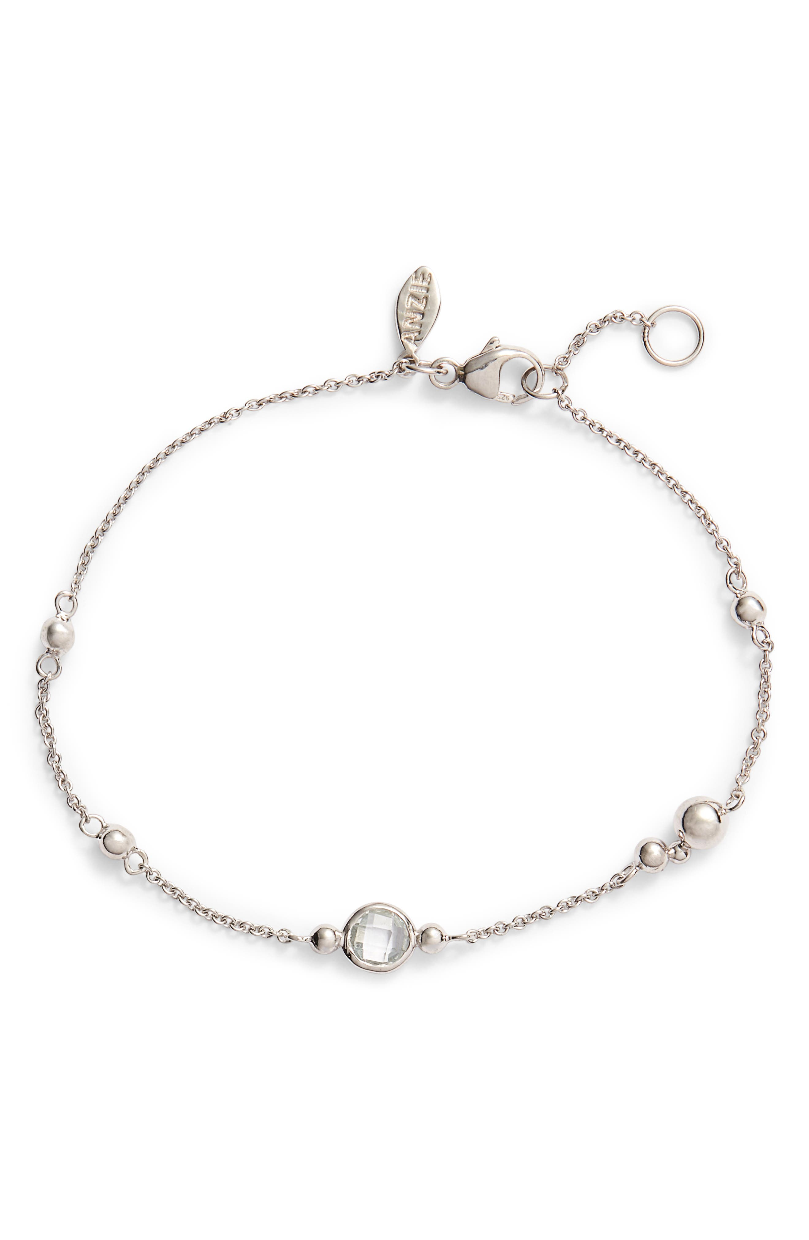 ANZIE Dew Drop Marine Topaz Bracelet, Main, color, SILVER