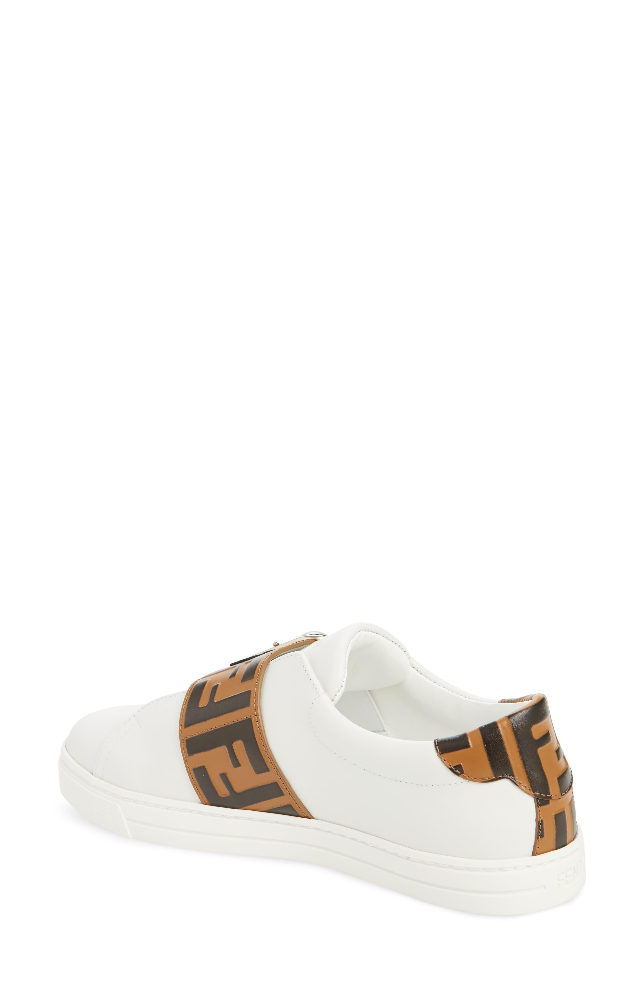 FENDI, Pearland Logo Slip-On Sneaker, Alternate thumbnail 2, color, WHITE/ BROWN