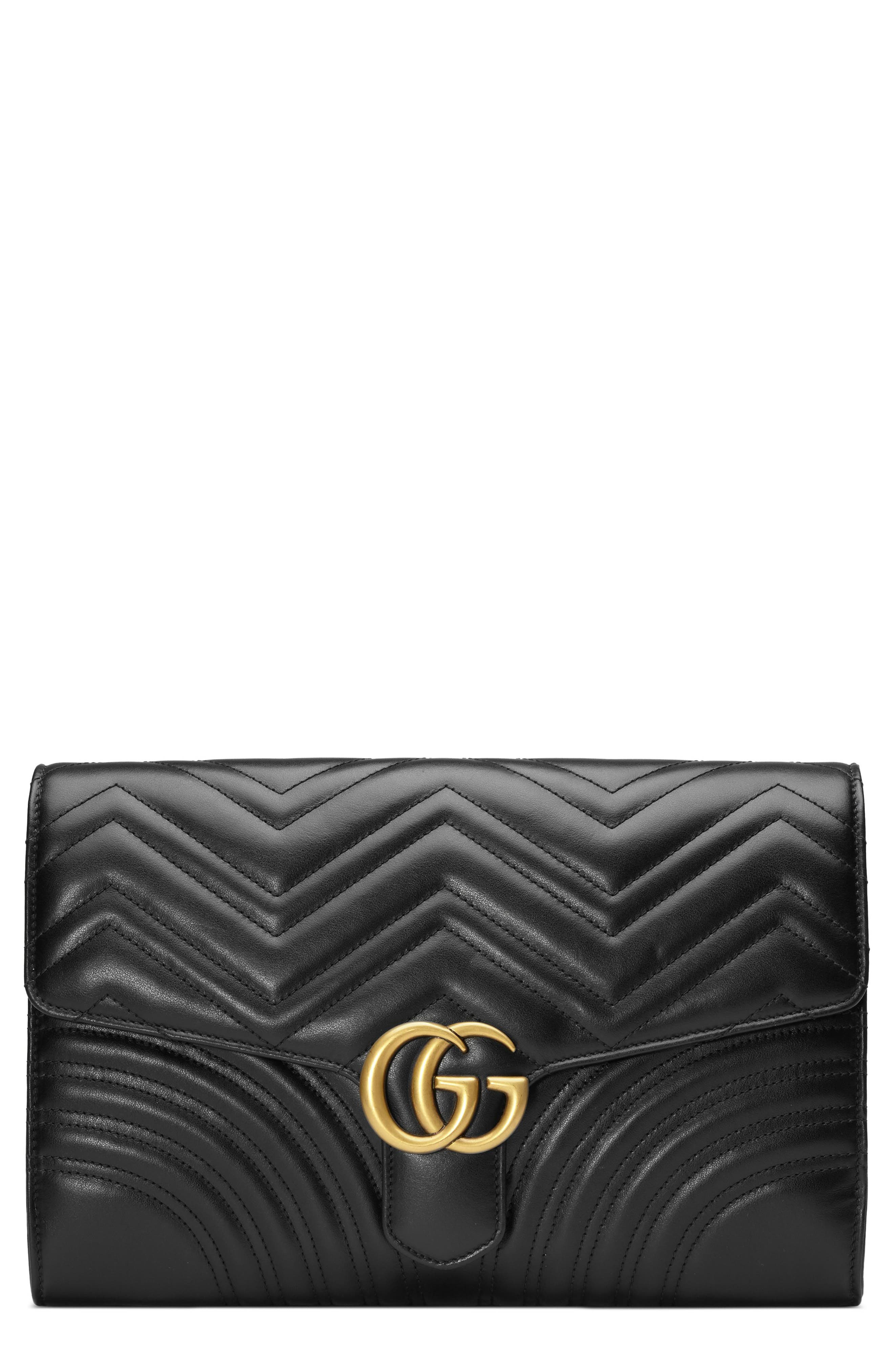 GUCCI, GG Marmont 2.0 Matelassé Leather Clutch, Main thumbnail 1, color, NERO/ NERO
