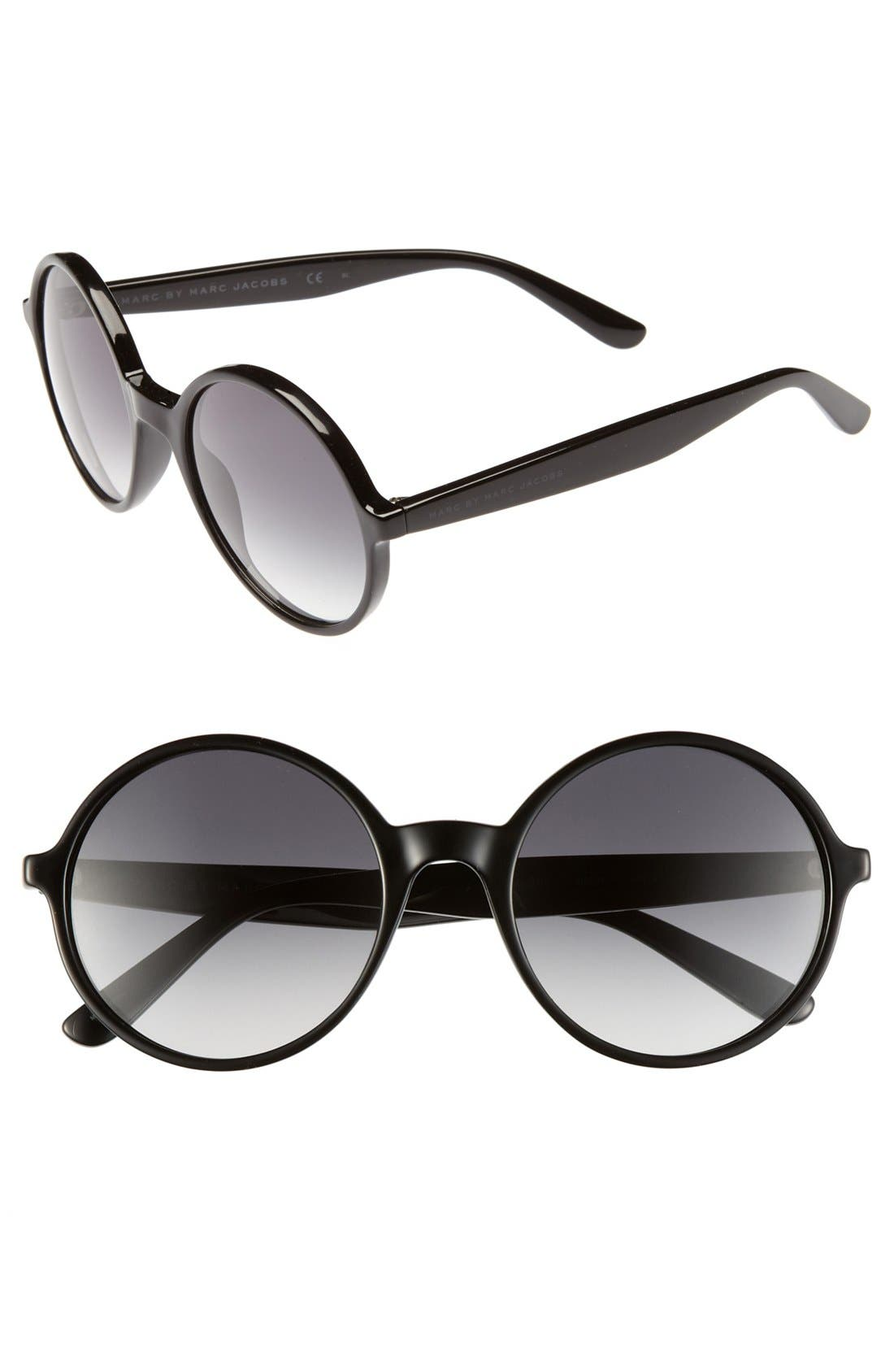 MARC BY MARC JACOBS, 54mm Retro Sunglasses, Main thumbnail 1, color, 001