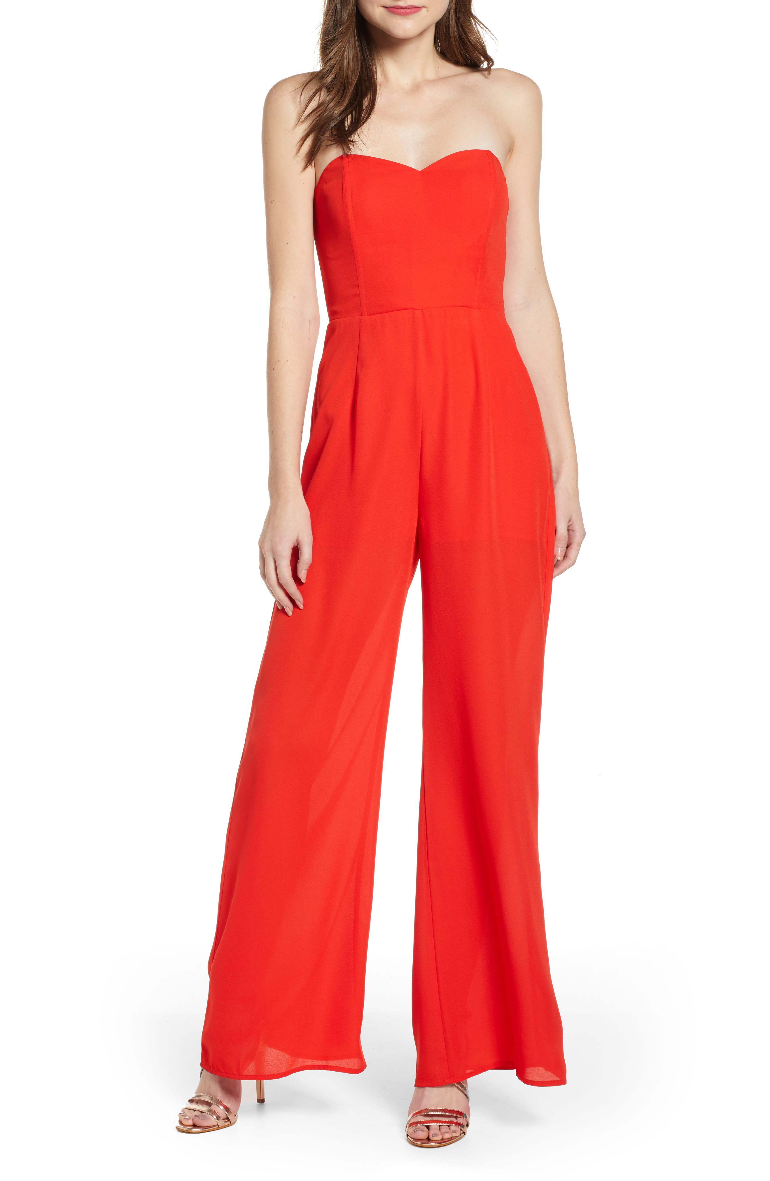LEITH, Strapless Jumpsuit, Main thumbnail 1, color, RED SCARLET