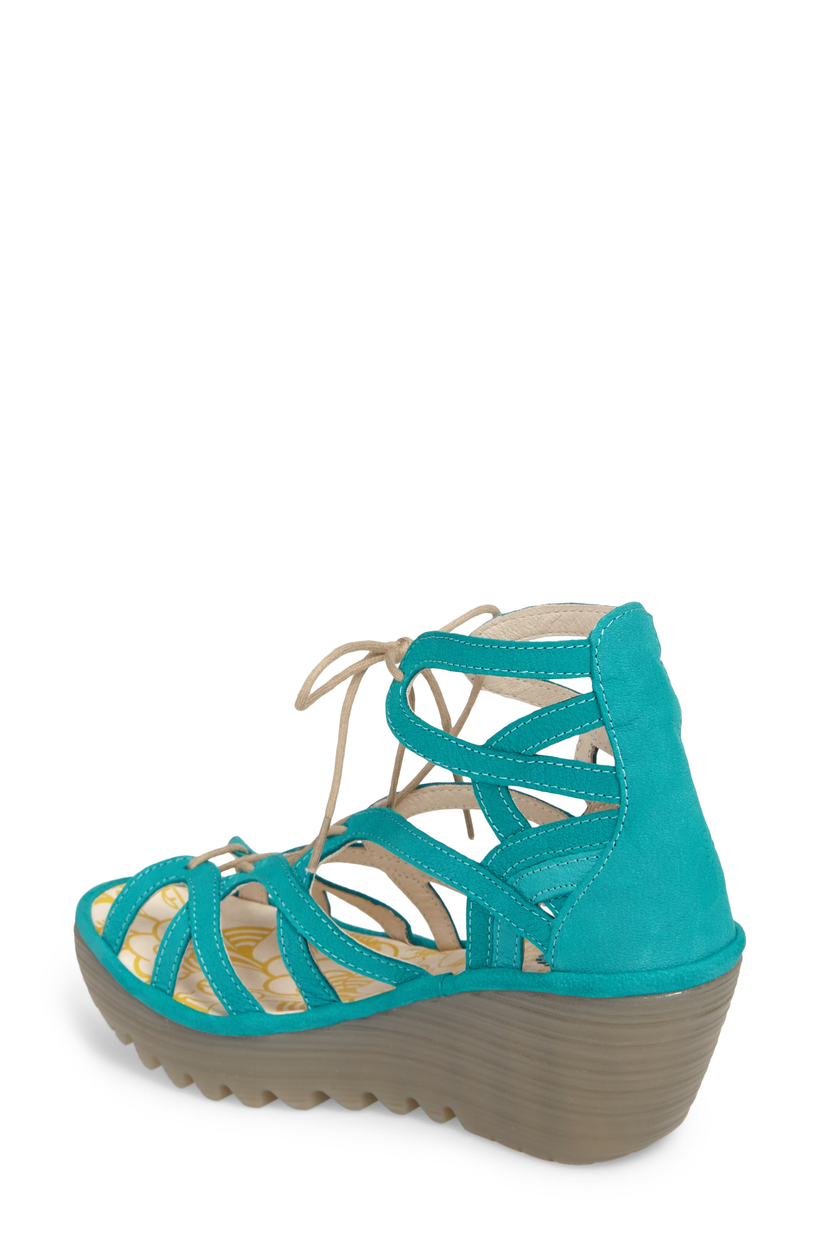 FLY LONDON, 'Yuke' Platform Wedge Sandal, Alternate thumbnail 2, color, VERDIGRIS LEATHER