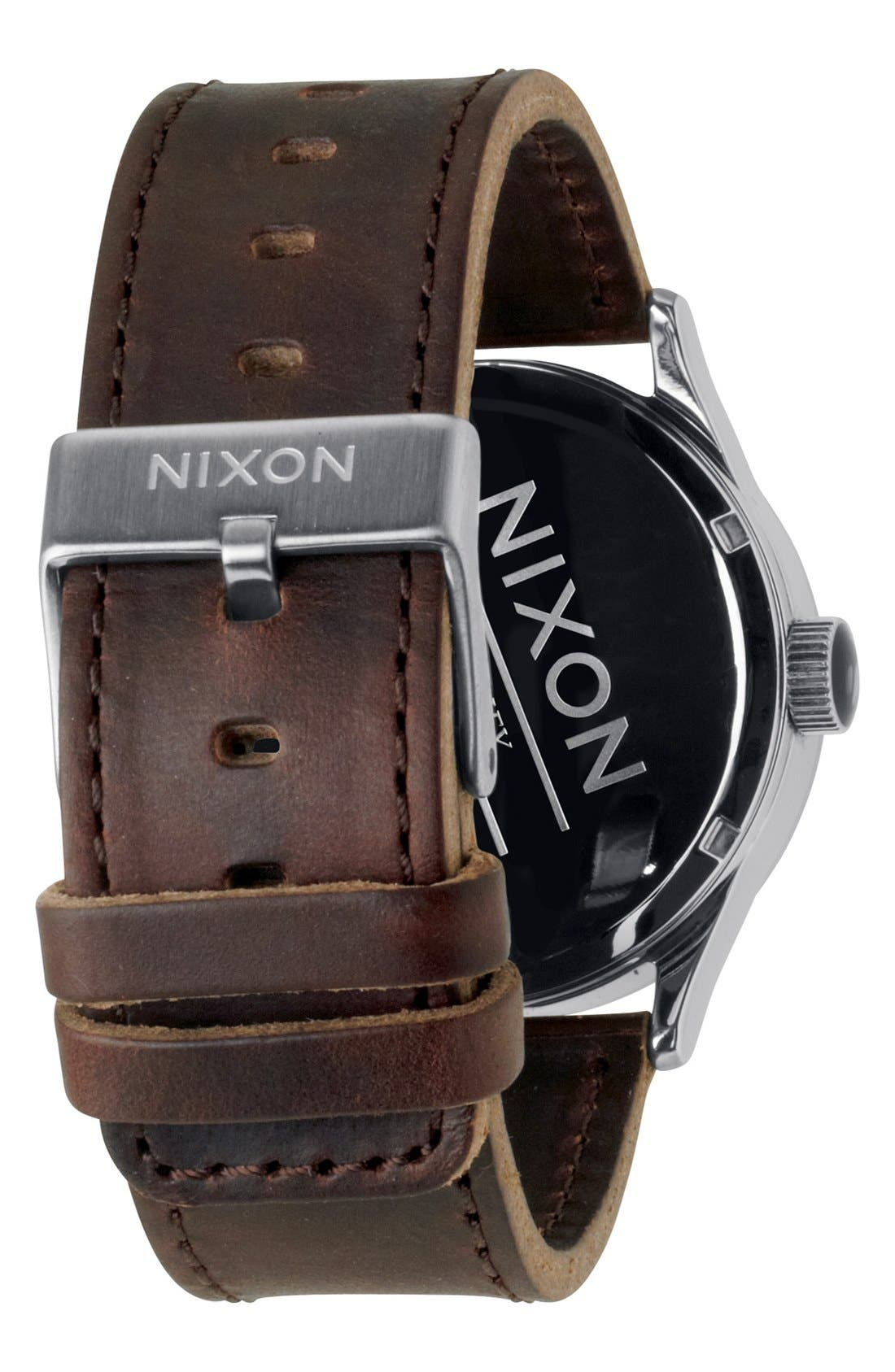 NIXON, The Sentry Leather Strap Watch, 42mm, Alternate thumbnail 5, color, SILVER/ BROWN