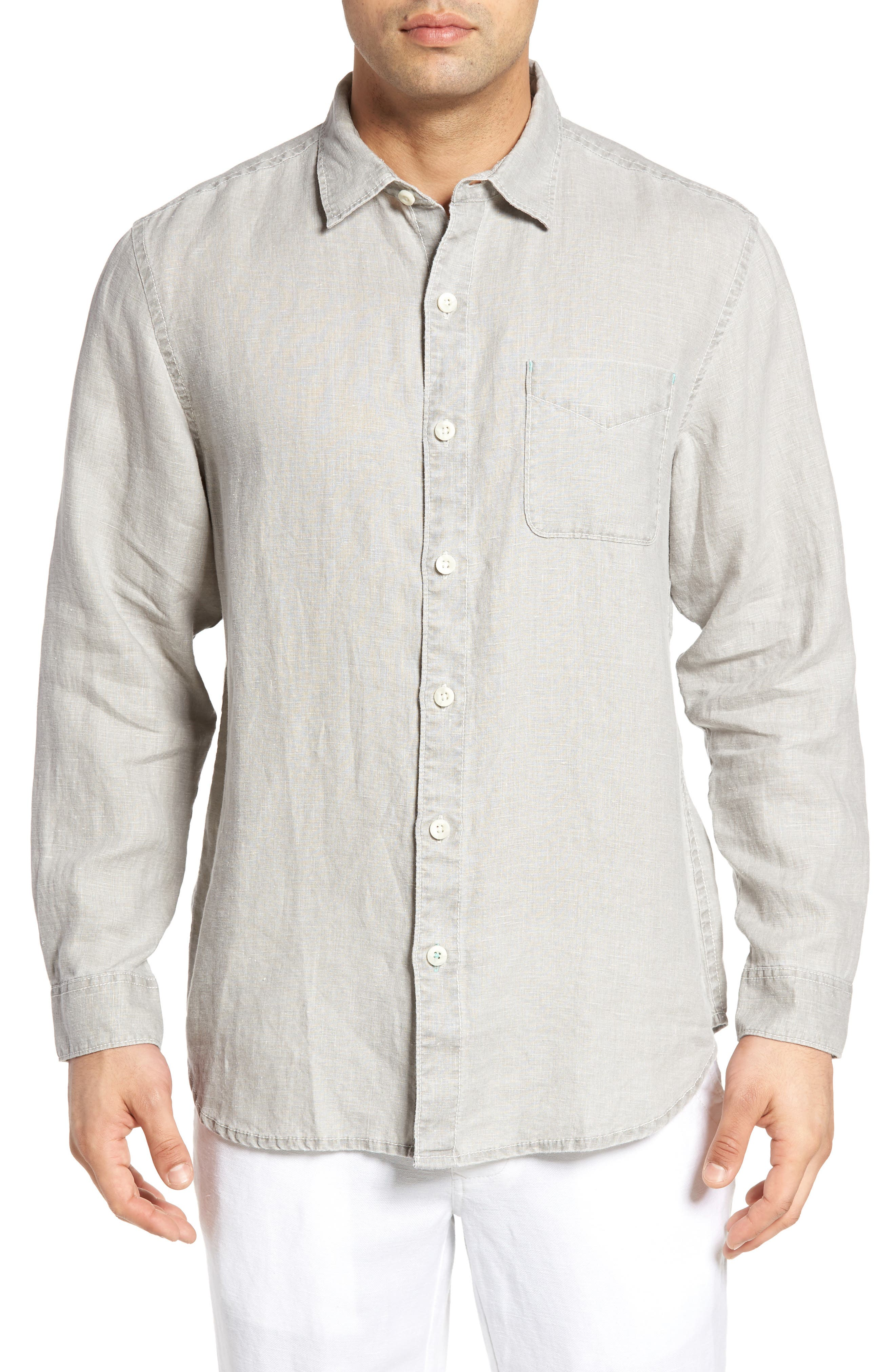 TOMMY BAHAMA, 'Sea Glass Breezer' Original Fit Linen Shirt, Main thumbnail 1, color, LIGHT GREY