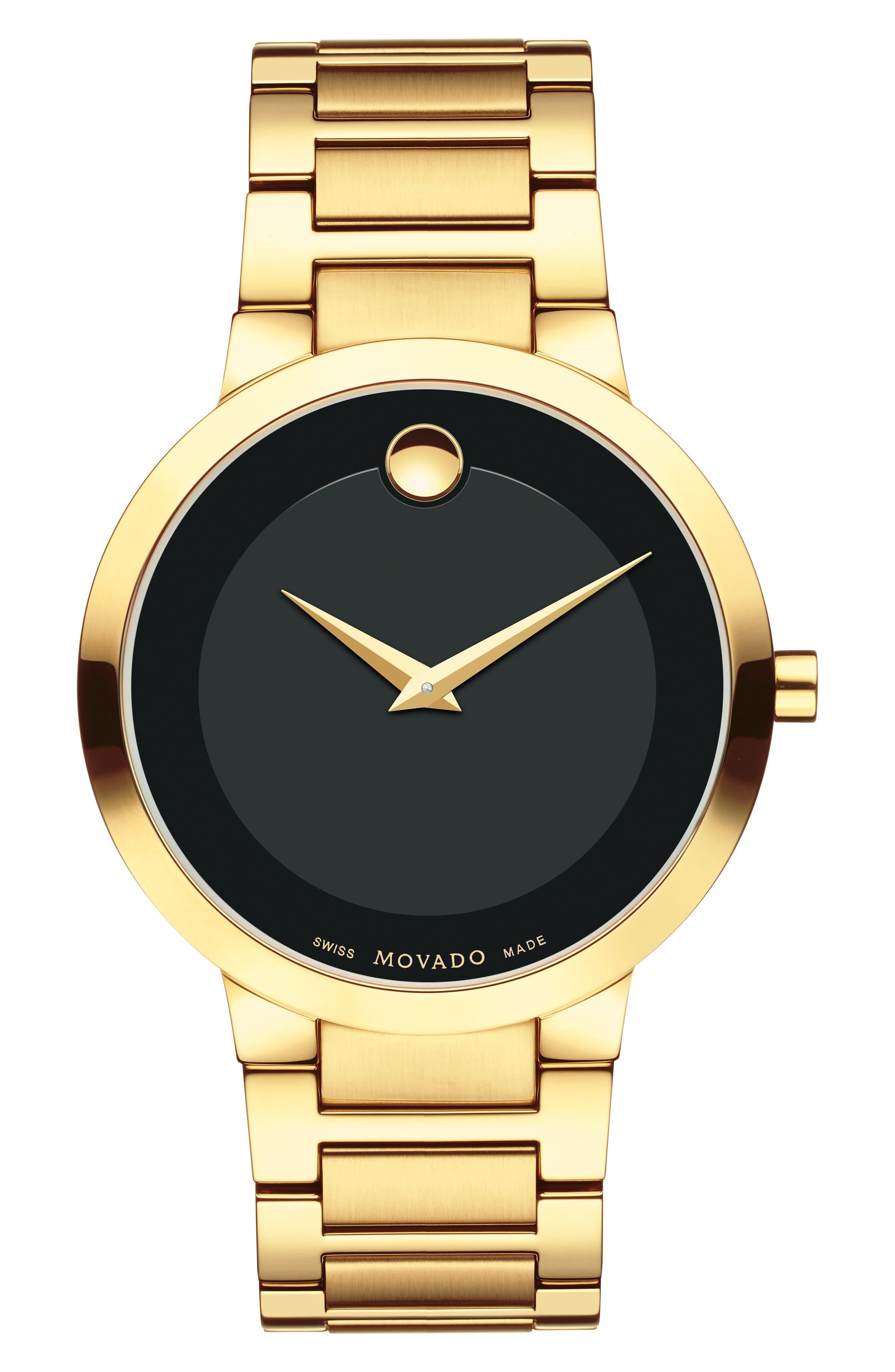 MOVADO, Modern Classic Bracelet Watch, 39mm, Main thumbnail 1, color, GOLD/ BLACK/ GOLD