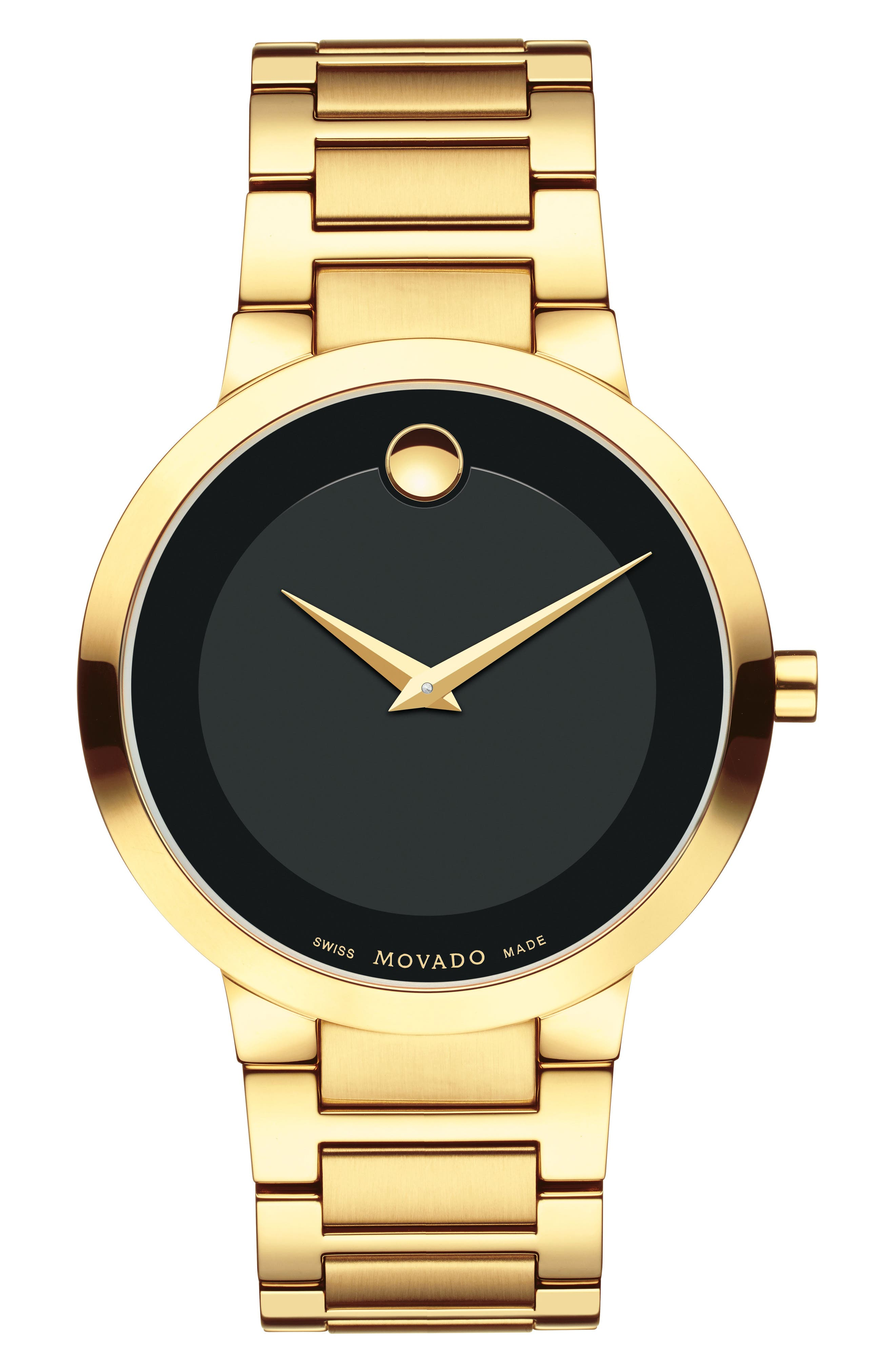 MOVADO Modern Classic Bracelet Watch, 39mm, Main, color, GOLD/ BLACK/ GOLD