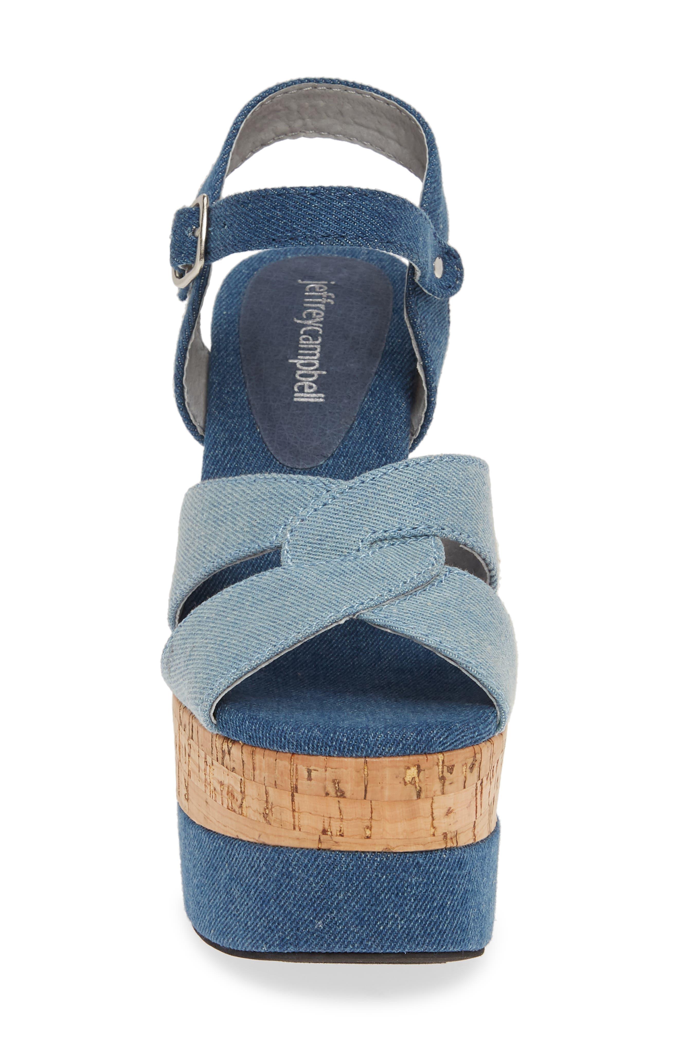 JEFFREY CAMPBELL, Wedge Platform Sandal, Alternate thumbnail 4, color, BLUE DENIM COMBO/ CORK