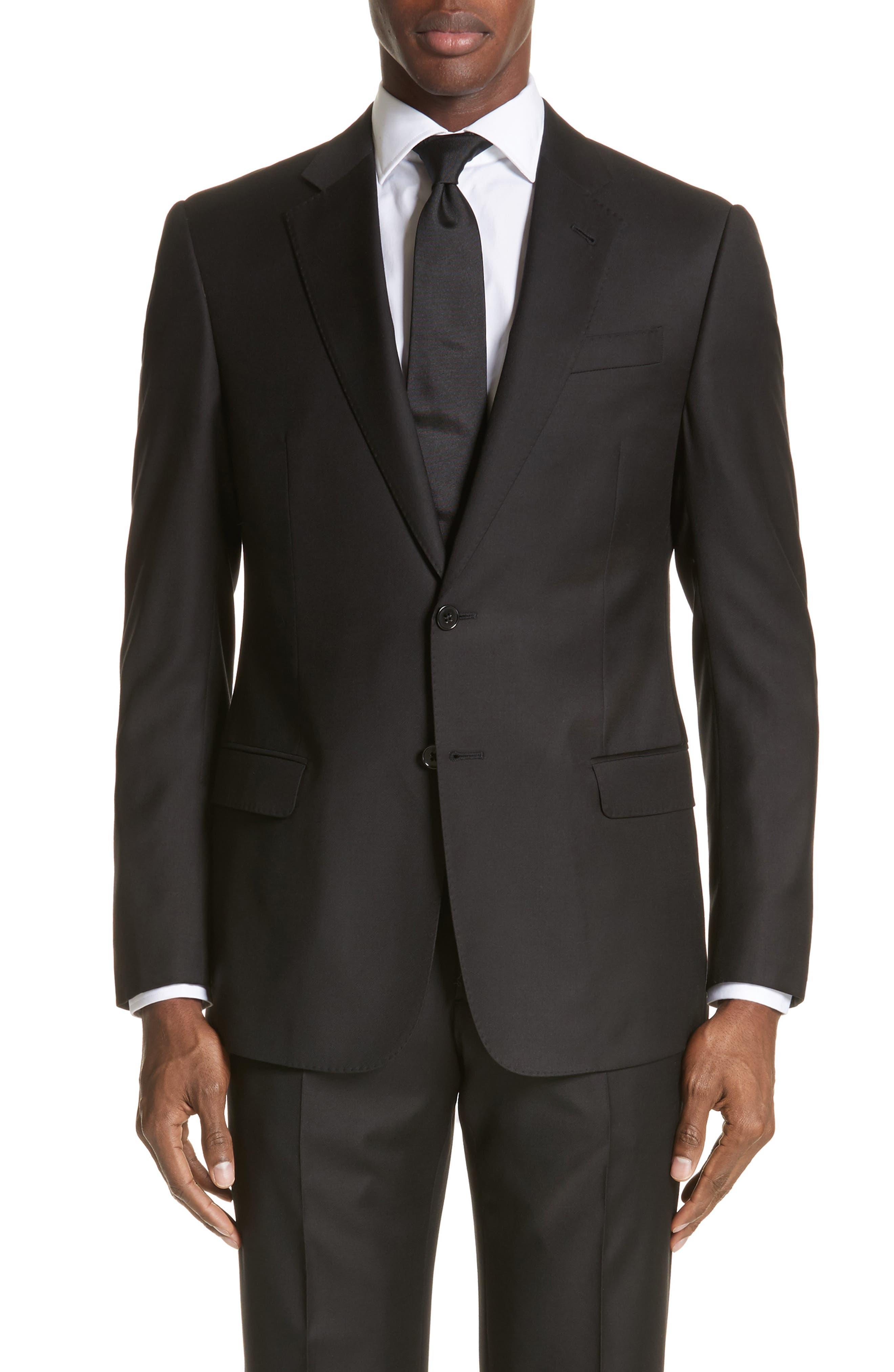 EMPORIO ARMANI, Trim Fit Solid Wool Suit, Alternate thumbnail 5, color, BLACK