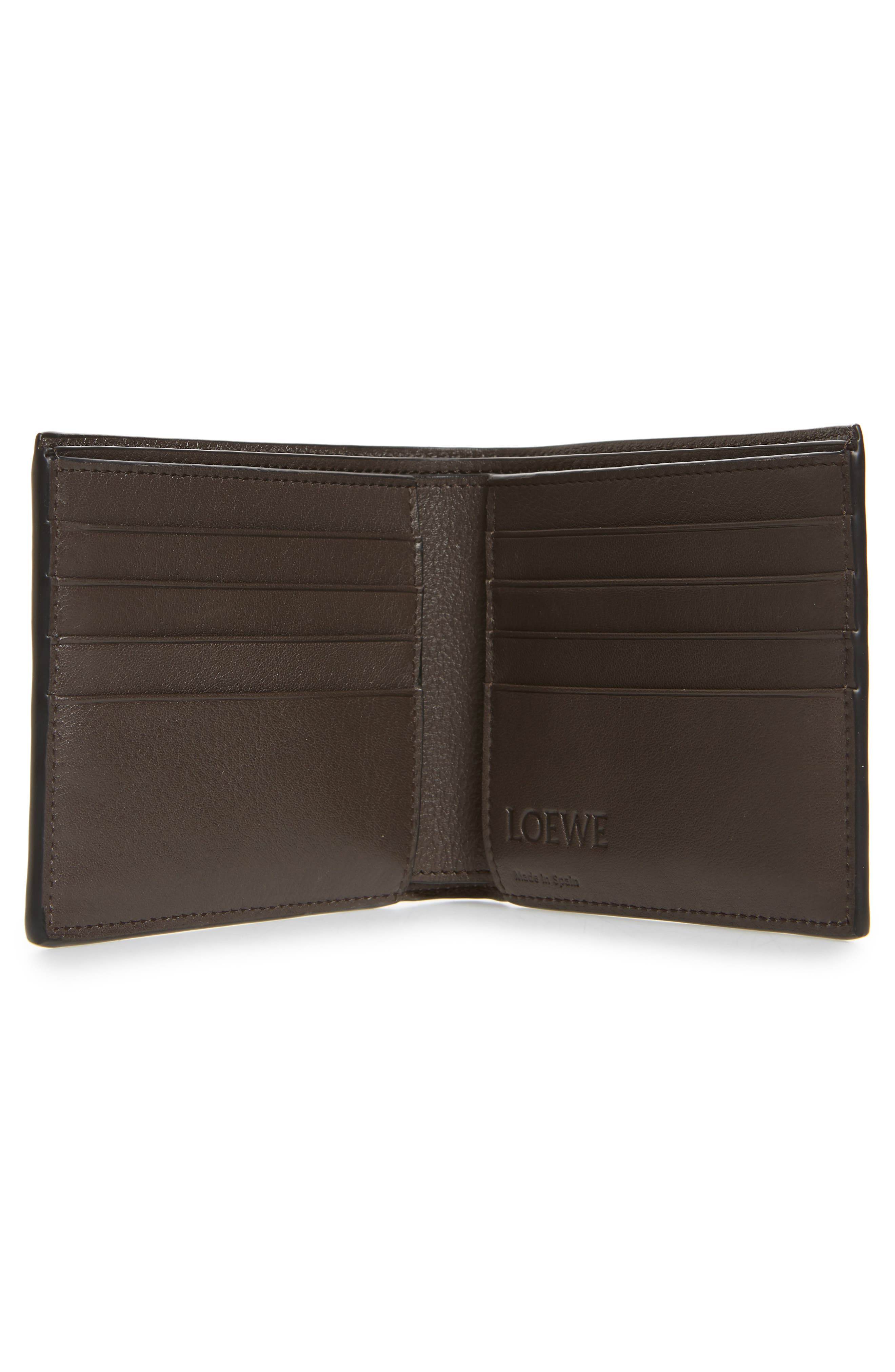 LOEWE, Calfskin Leather Bifold Wallet, Alternate thumbnail 2, color, MIDNIGHT
