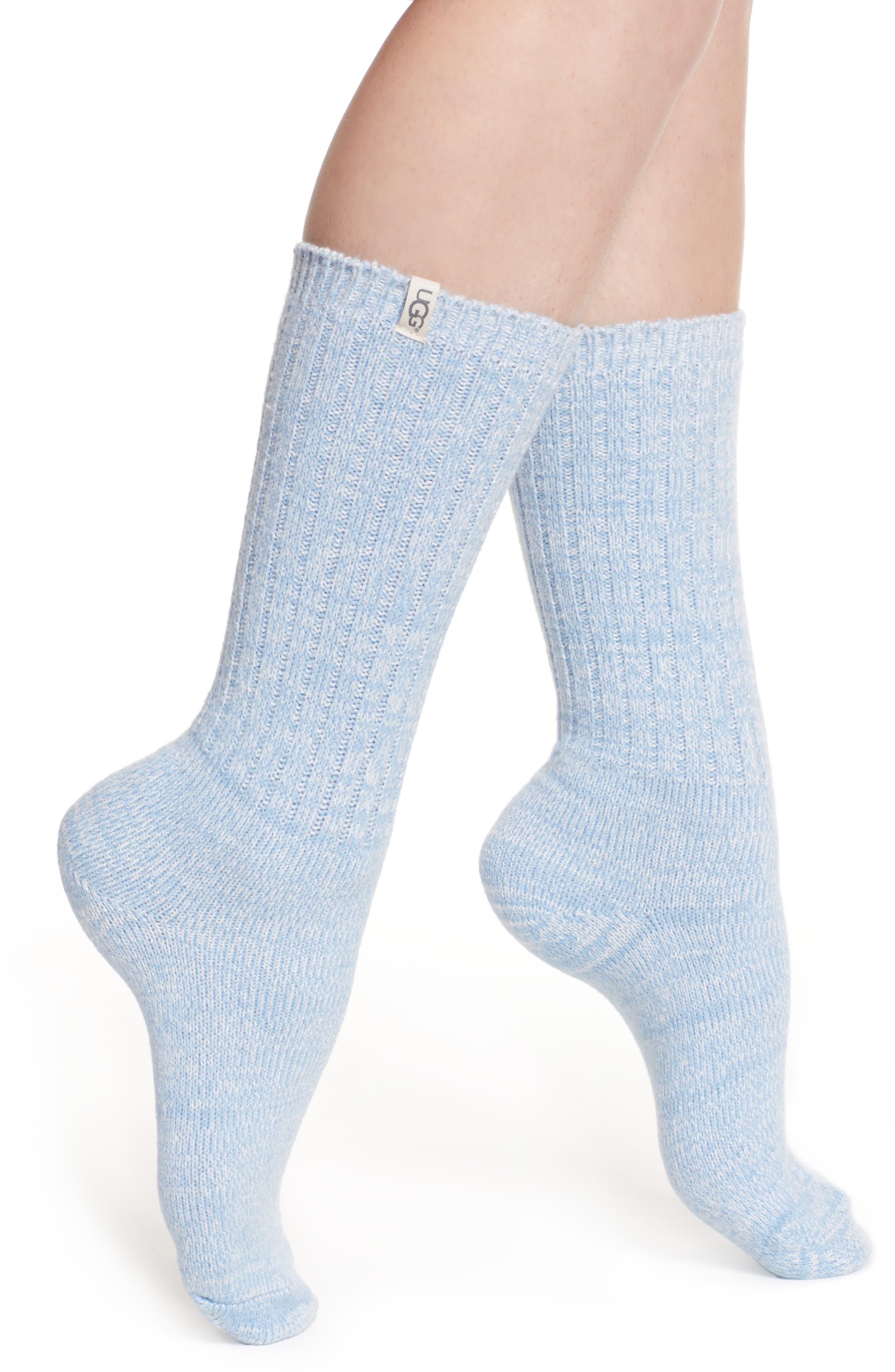 UGG<SUP>®</SUP> Ribbed Crew Socks, Main, color, HORIZON
