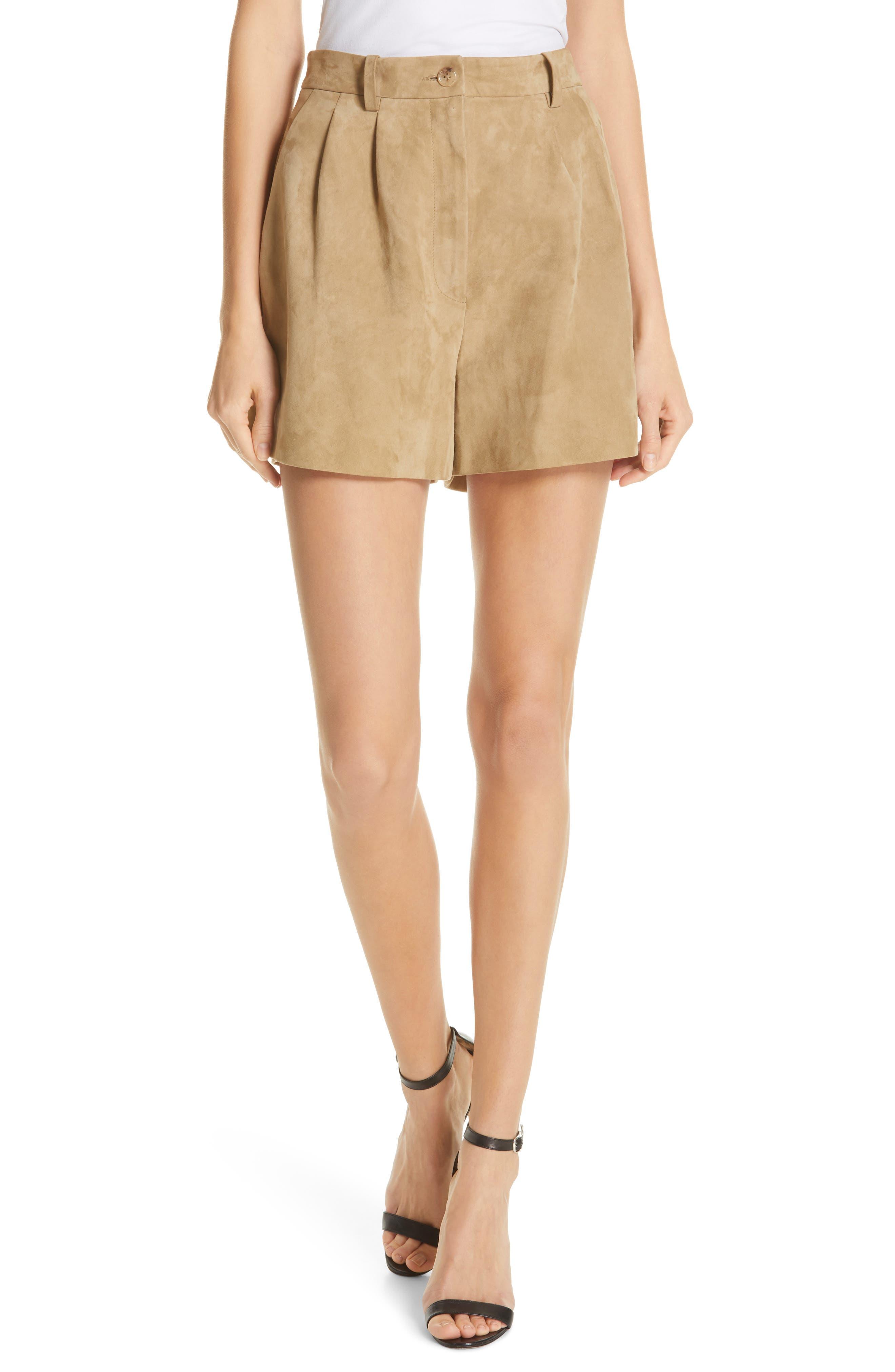 NILI LOTAN Roxana Suede Shorts, Main, color, BEIGE
