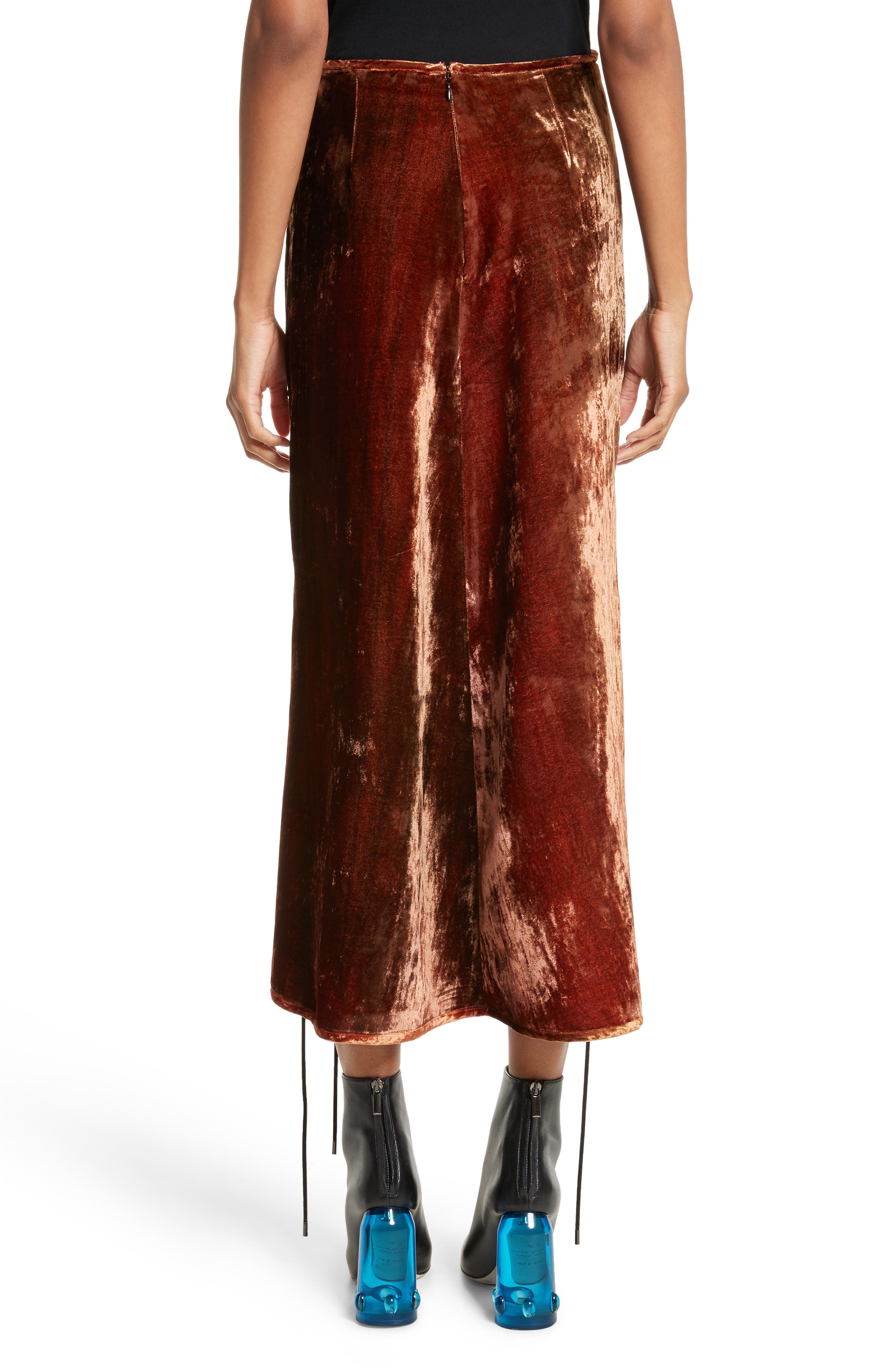 ELLERY, The Blues Lace Up Crushed Velvet Midi Skirt, Alternate thumbnail 2, color, 800