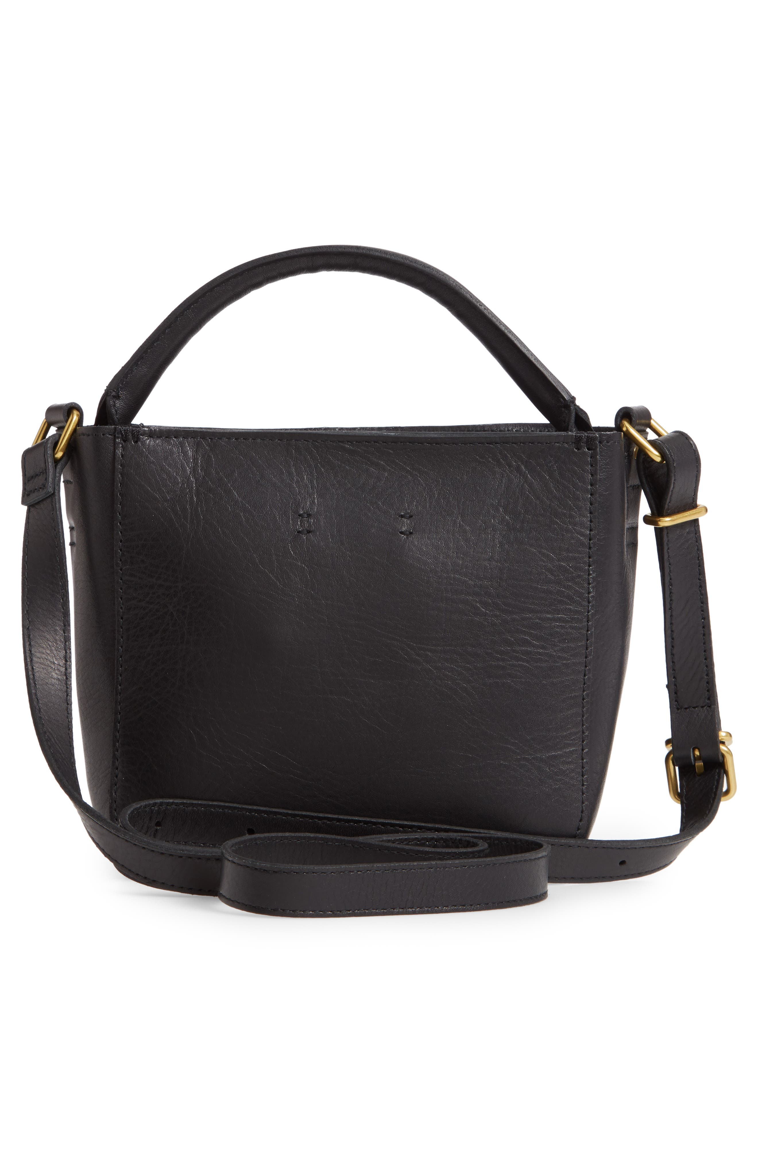 MADEWELL, The Mini Abroad Leather Crossbody Bag, Alternate thumbnail 3, color, TRUE BLACK