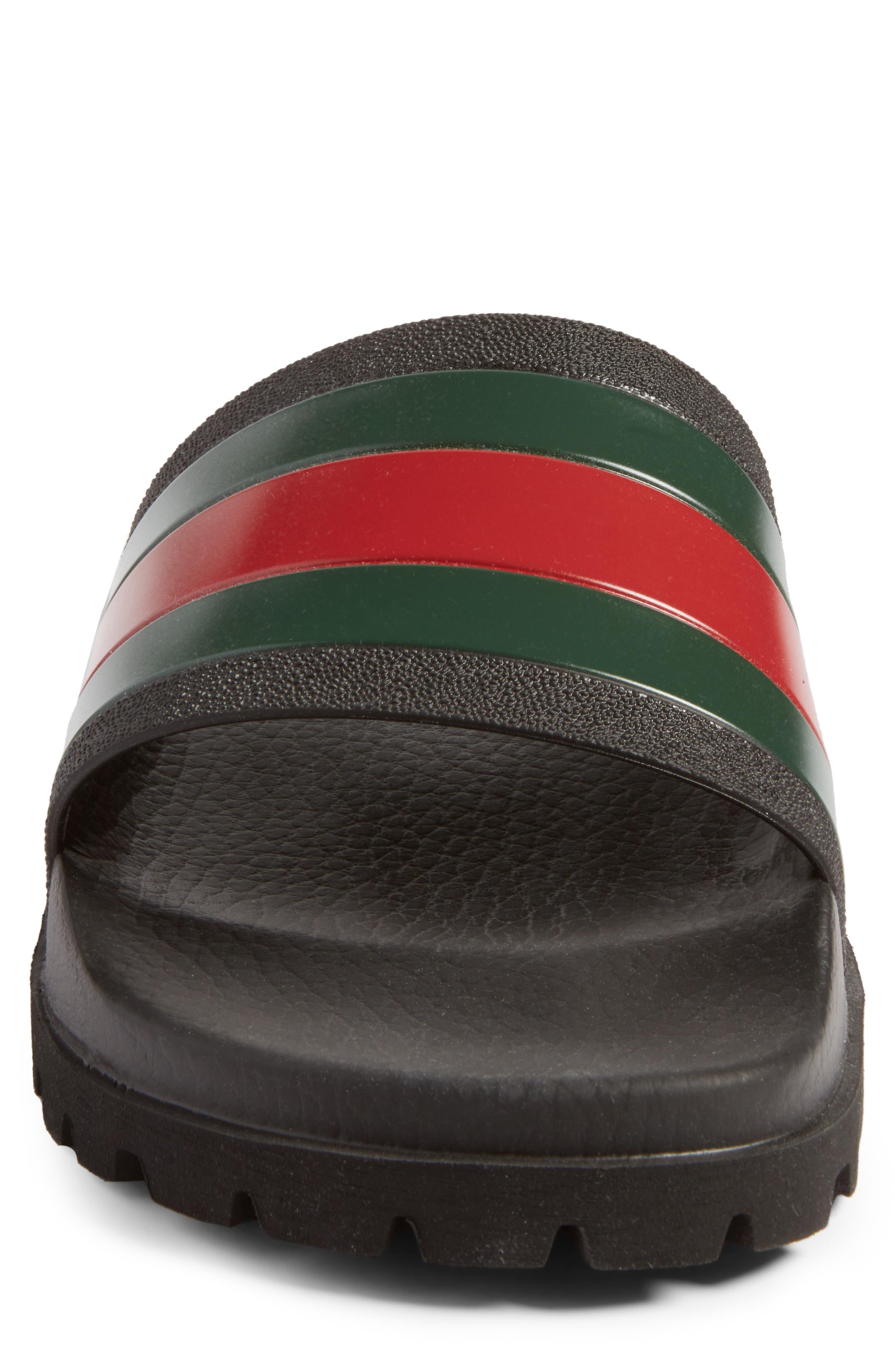 GUCCI, 'Pursuit Treck' Slide Sandal, Alternate thumbnail 4, color, NERO/NERO