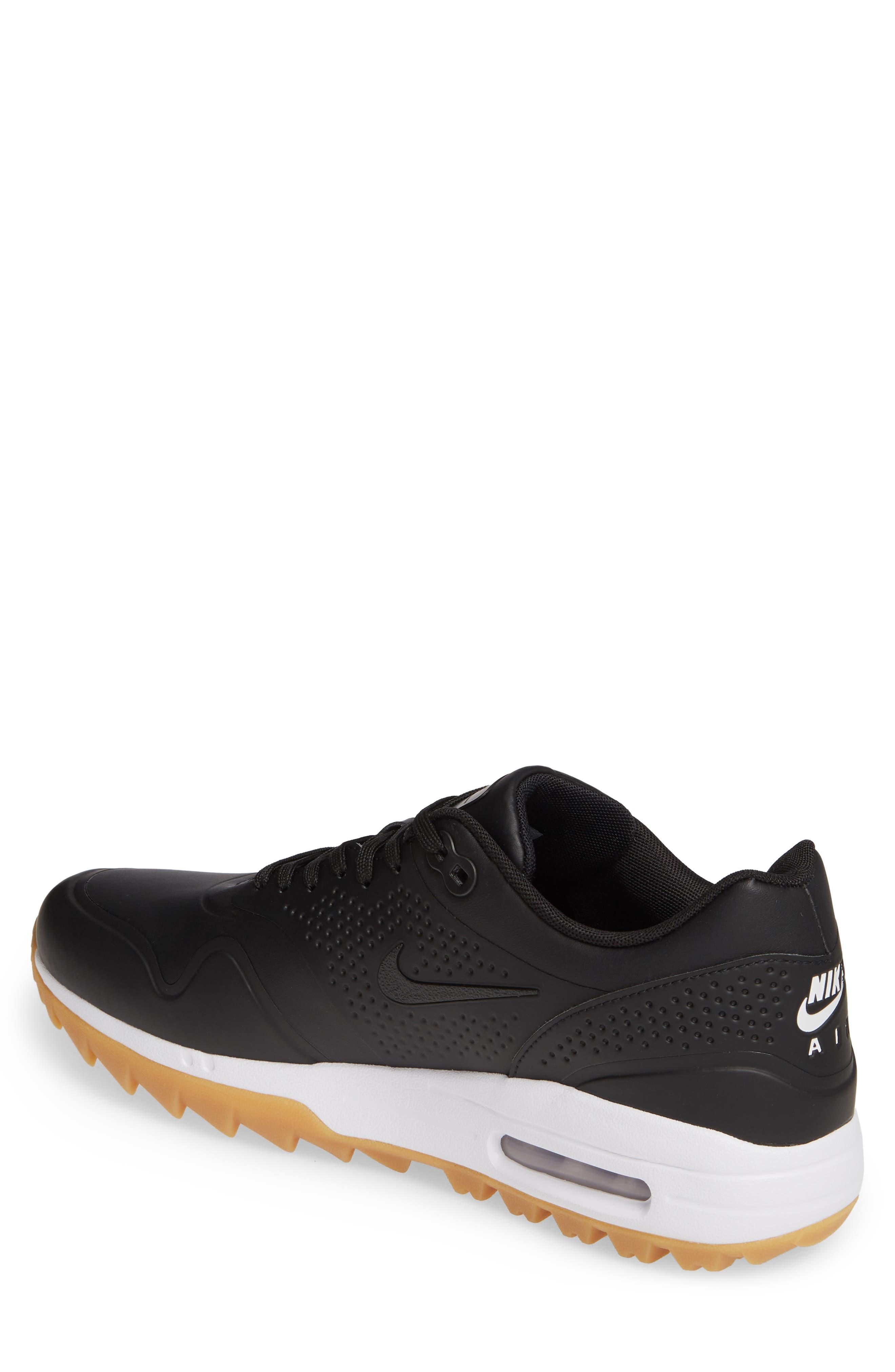 NIKE, Air Max 1 Golf Sneaker, Alternate thumbnail 2, color, BLACK/ GUM LIGHT BROWN