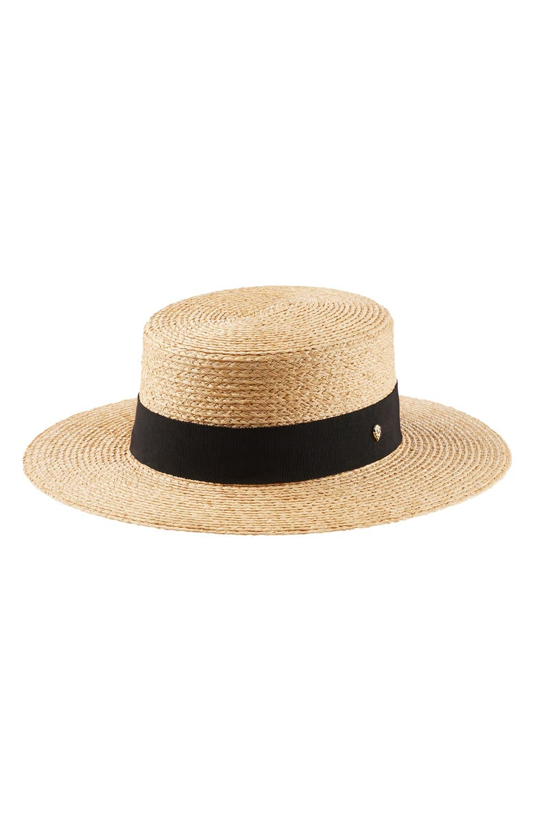 HELEN KAMINSKI RAFFIA BOATER HAT - BROWN