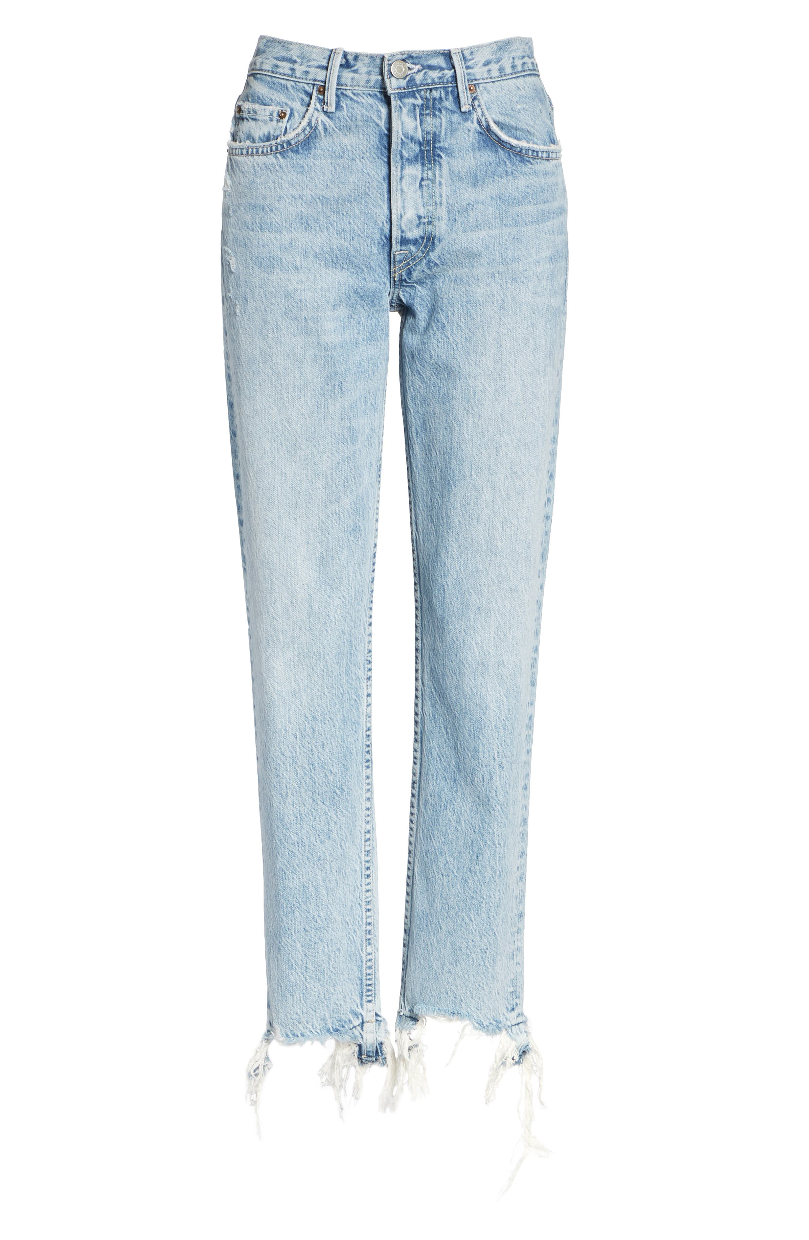 GRLFRND, Helena Frayed Hem High Waist Jeans, Alternate thumbnail 7, color, 401