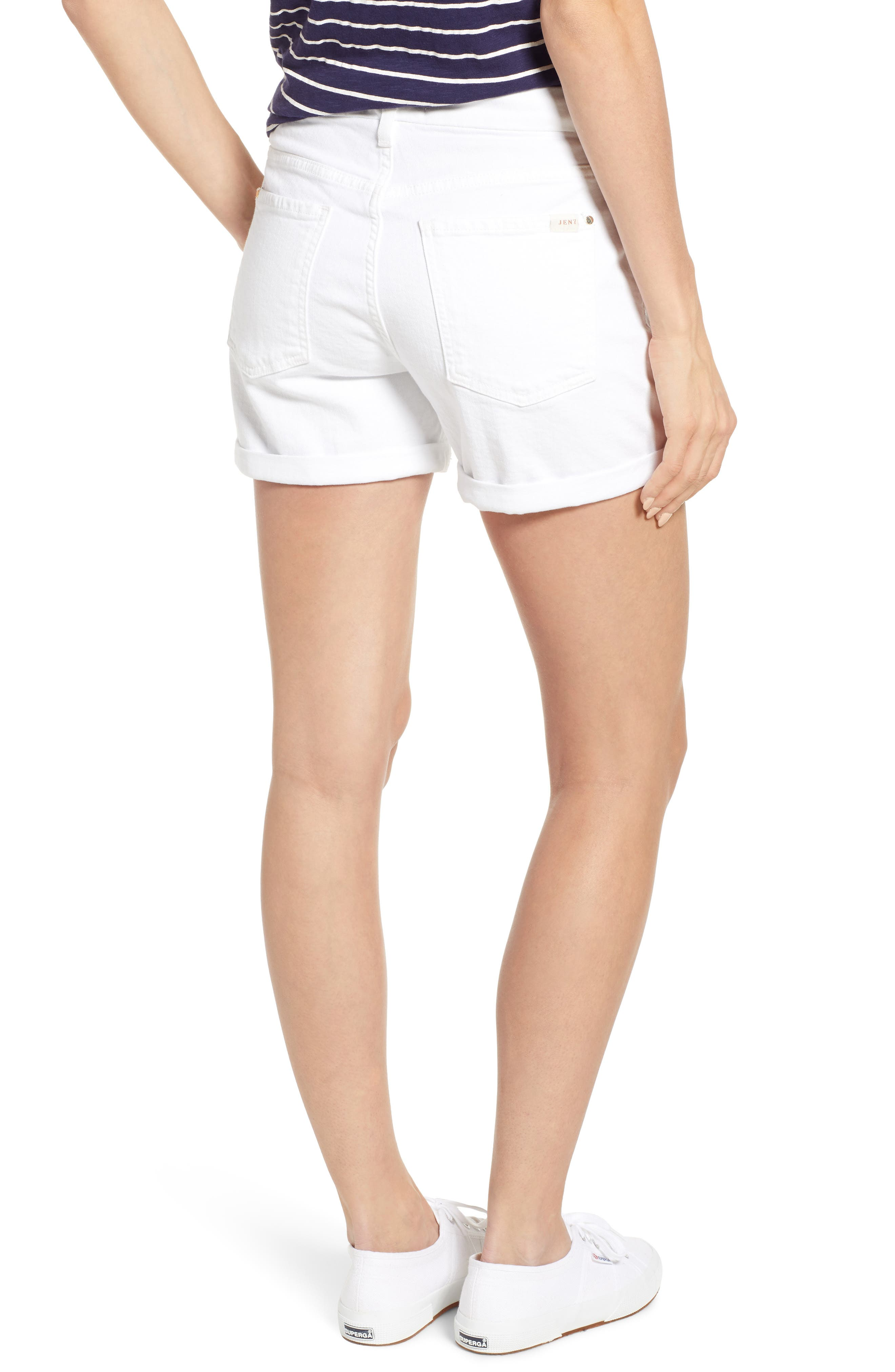 JEN7 BY 7 FOR ALL MANKIND, Roll Cuff Denim Shorts, Alternate thumbnail 2, color, WHITE FASHION
