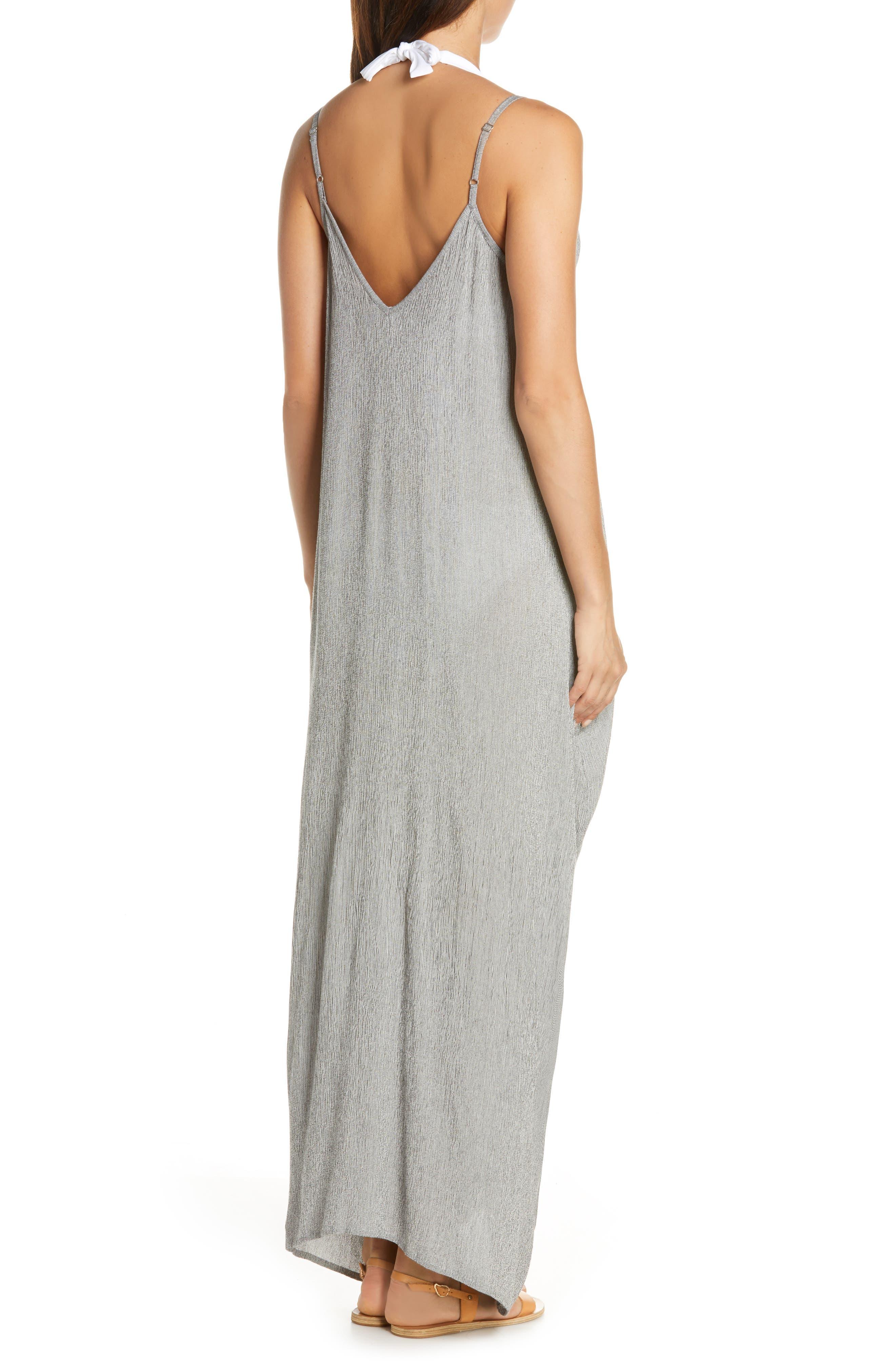 ELAN, Cover-Up Maxi Dress, Alternate thumbnail 2, color, BLACK MICRO STRIPE