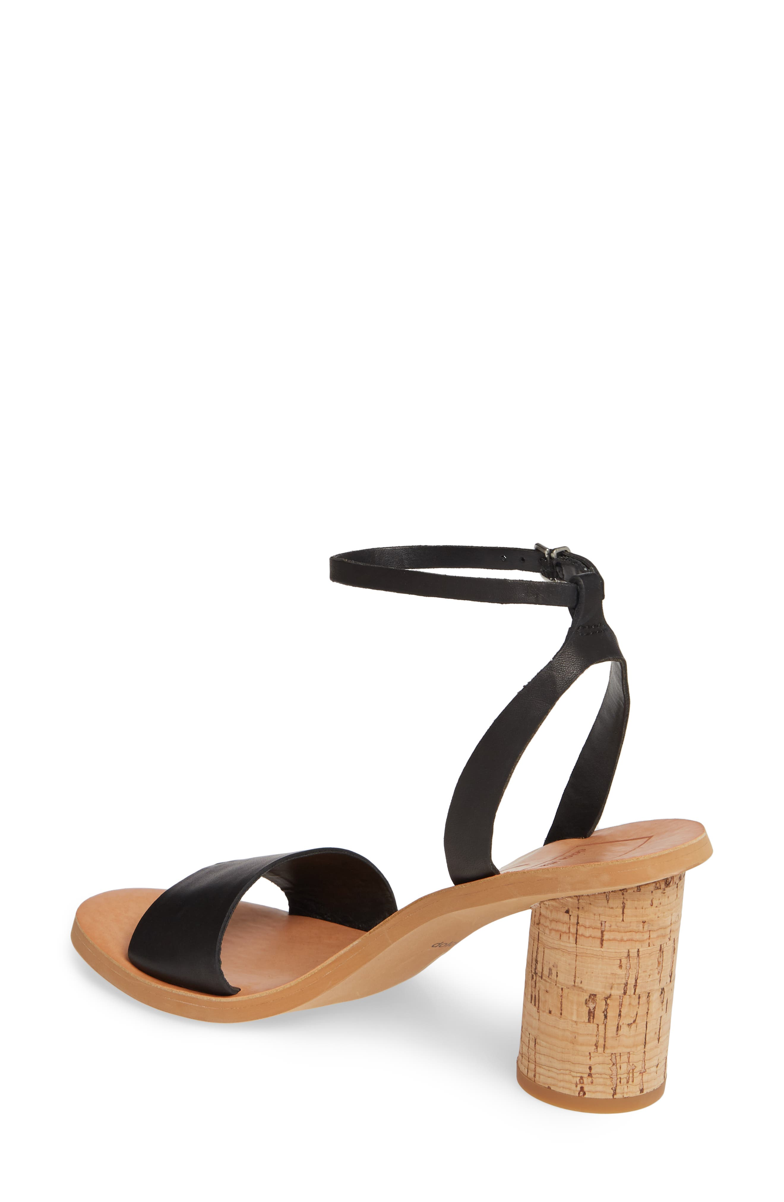 DOLCE VITA, Jali Column Heel Sandal, Alternate thumbnail 2, color, BLACK LEATHER