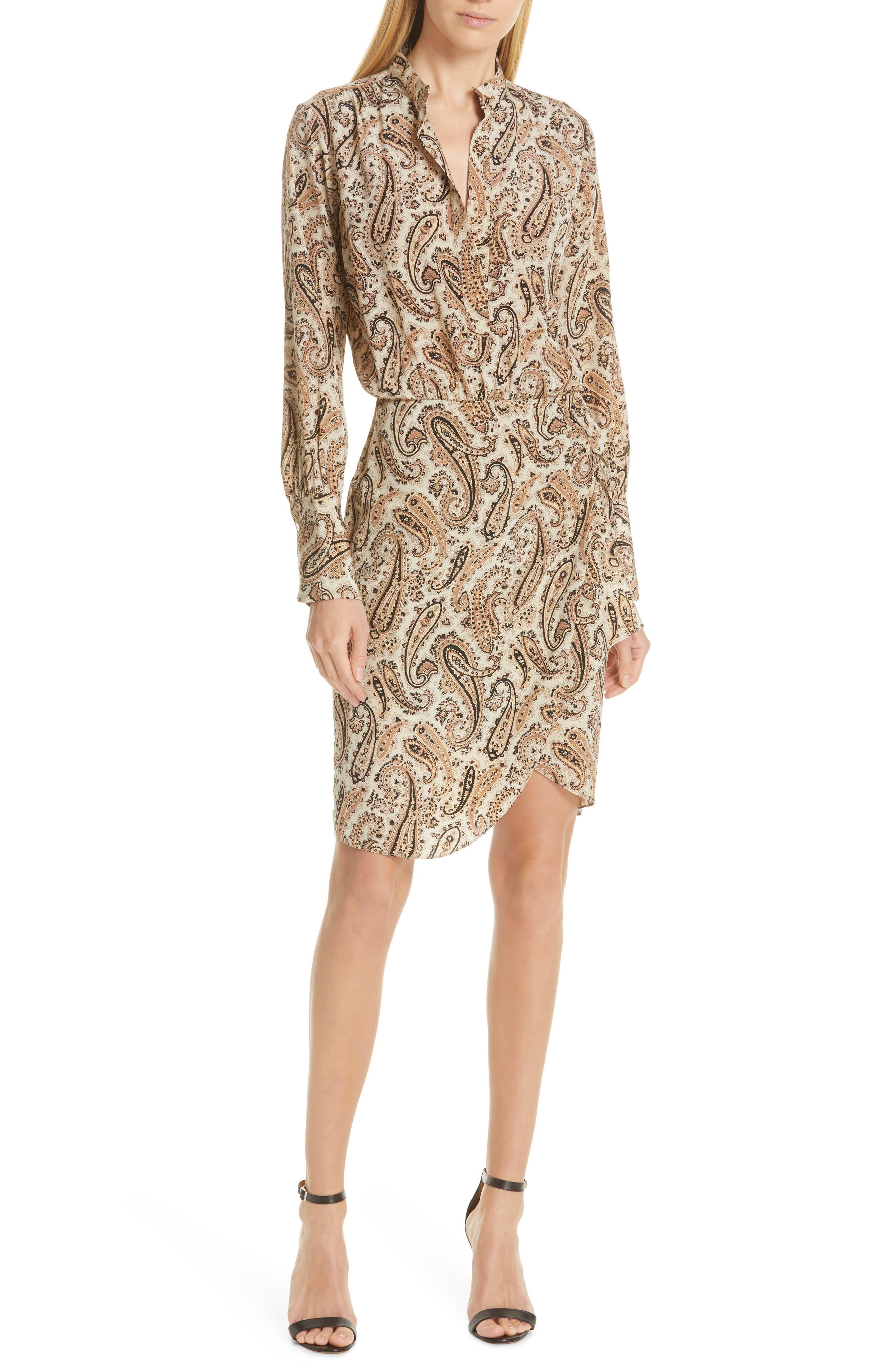 NILI LOTAN Paisley Silk Shirtdress, Main, color, BLACK AND BEIGE PAISLE