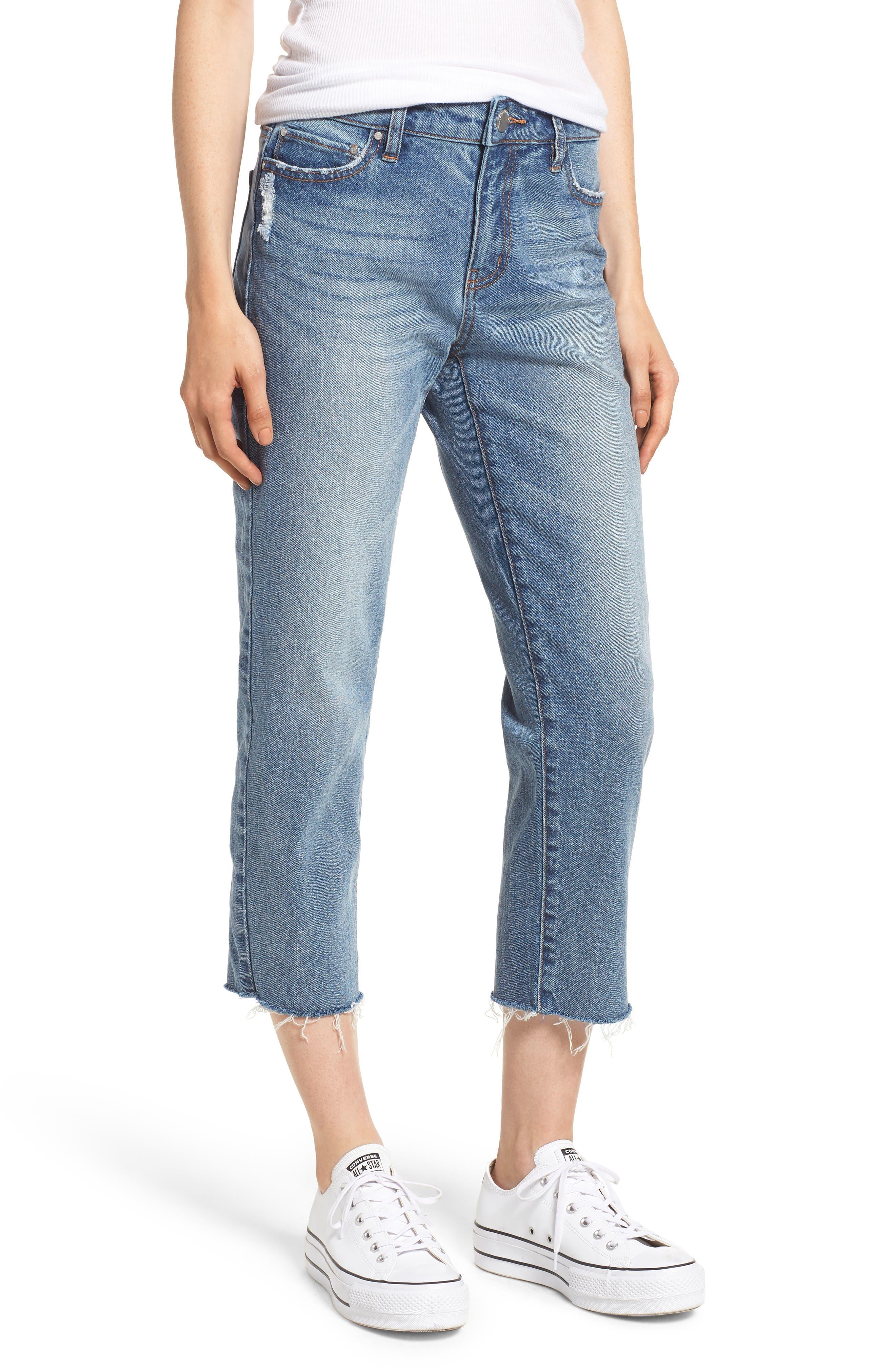 PROSPERITY DENIM, Crop Straight Leg Jeans, Main thumbnail 1, color, MED WASH