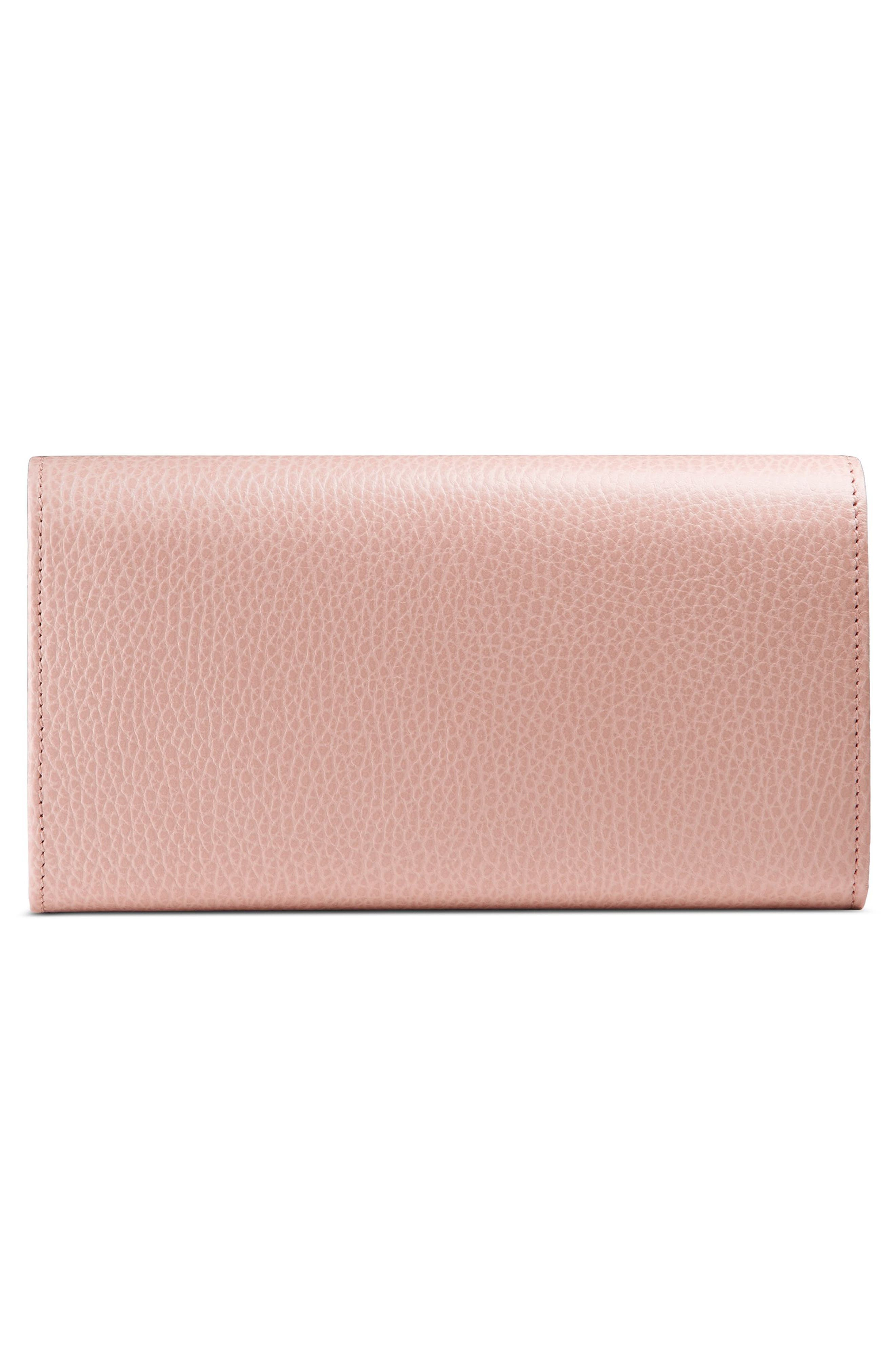 GUCCI, Farfalla Leather Continental Wallet, Alternate thumbnail 3, color, PERFECT PINK/ CRYSTAL