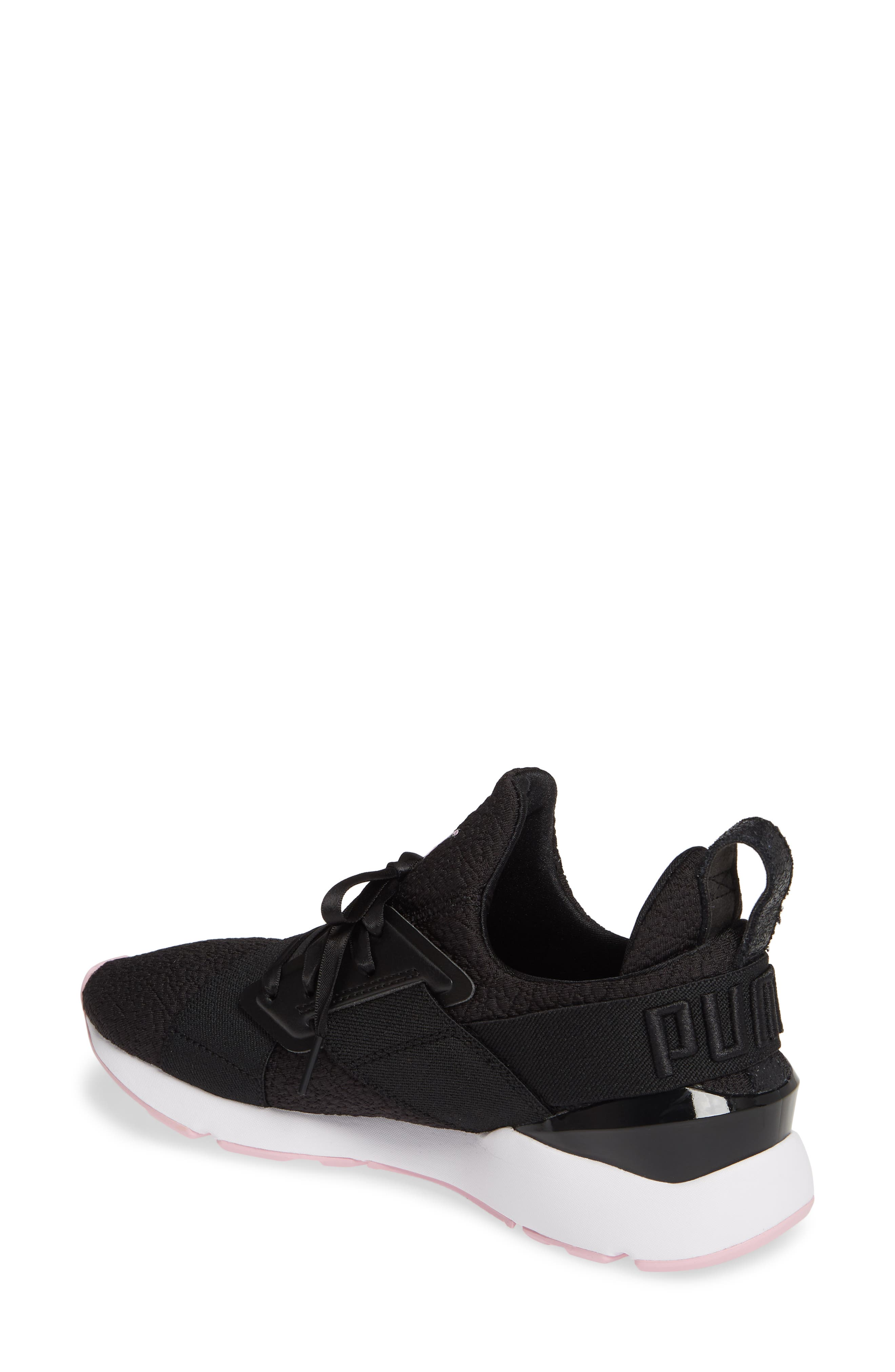 PUMA, Muse TZ Sneaker, Alternate thumbnail 2, color, BLACK/ PALE PINK