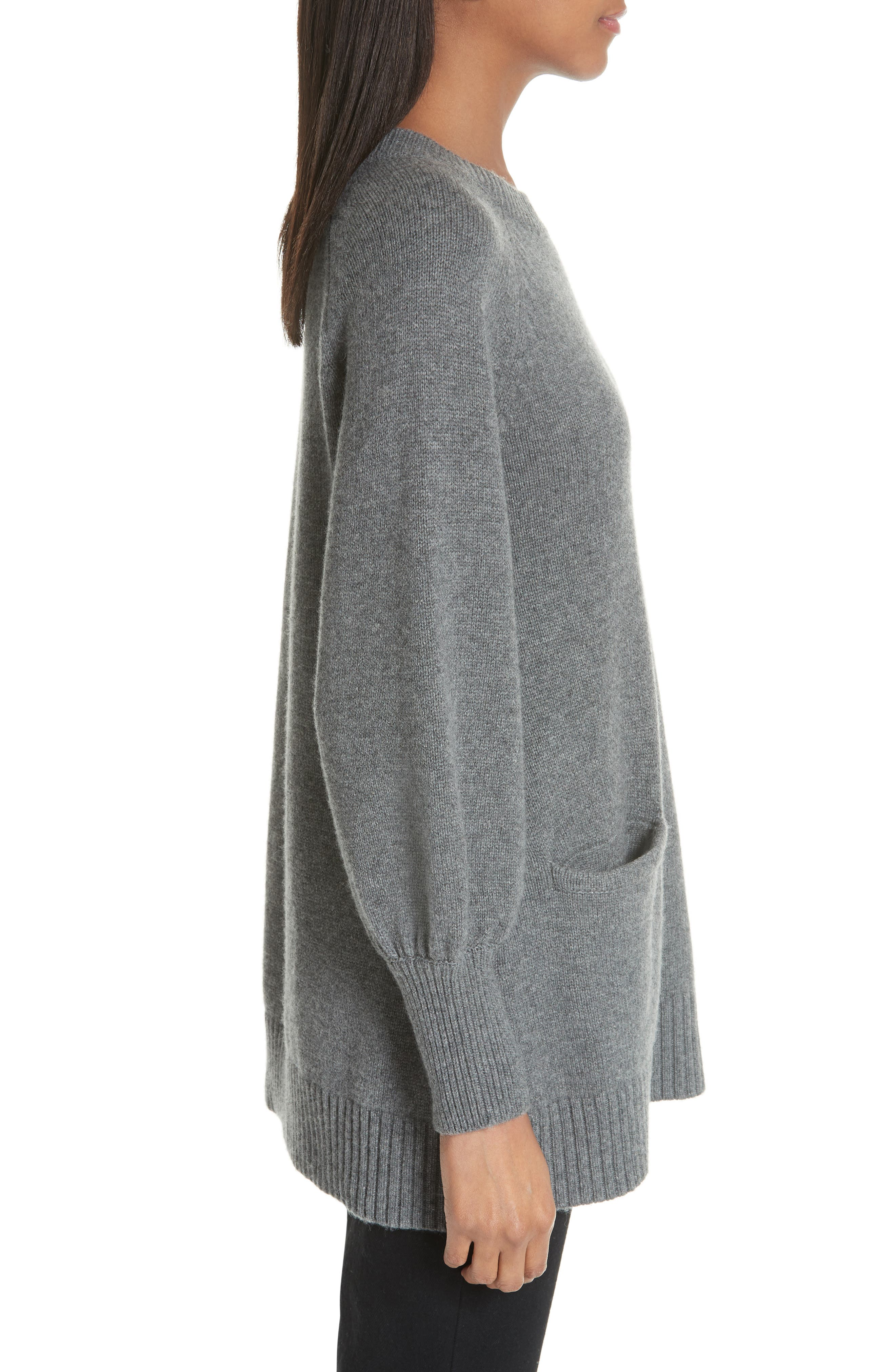 CO, Wool & Cashmere Tunic Sweater, Alternate thumbnail 3, color, GREY