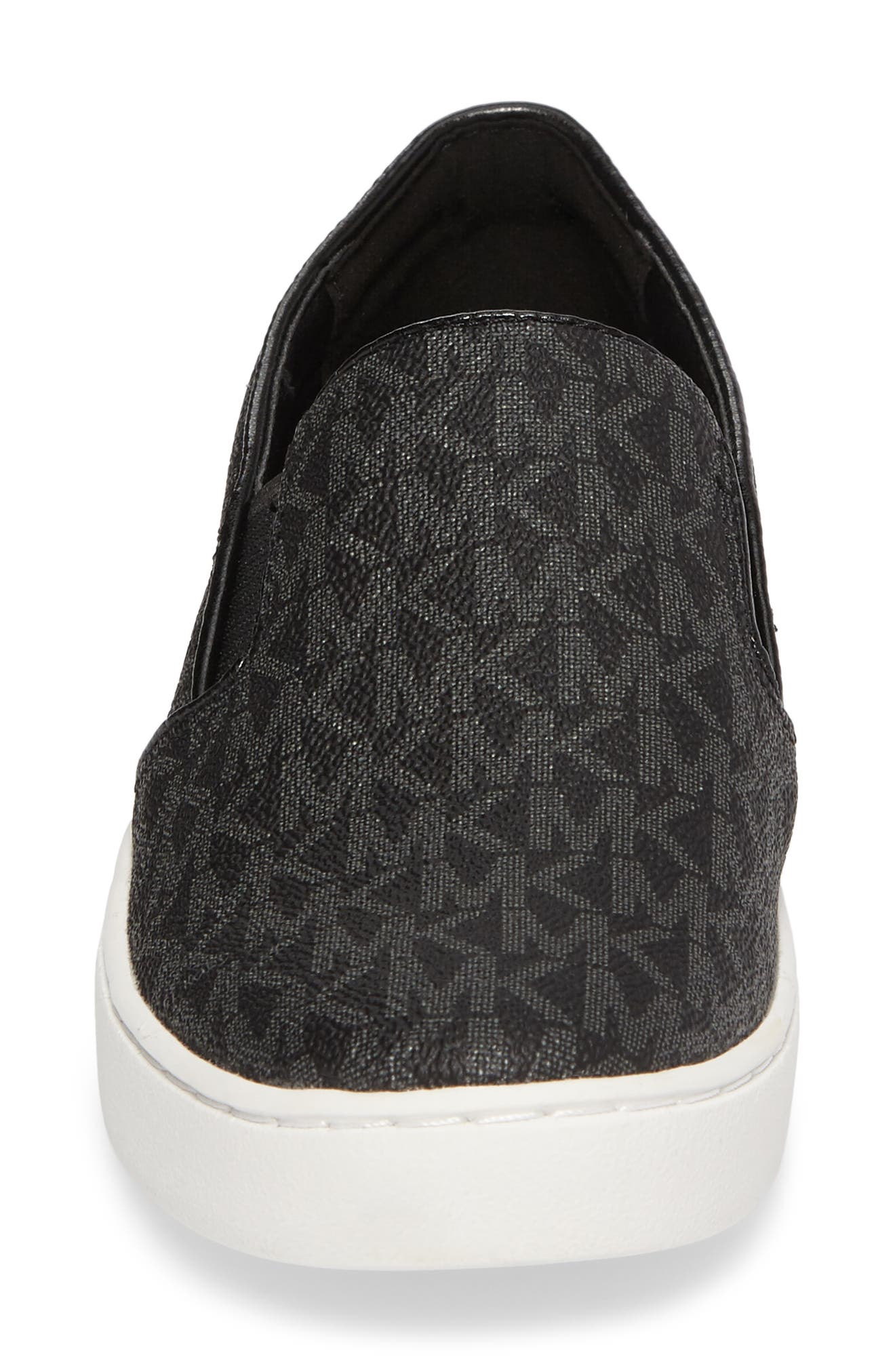 MICHAEL MICHAEL KORS, Keaton Slip-On Sneaker, Alternate thumbnail 4, color, BLACK CANVAS