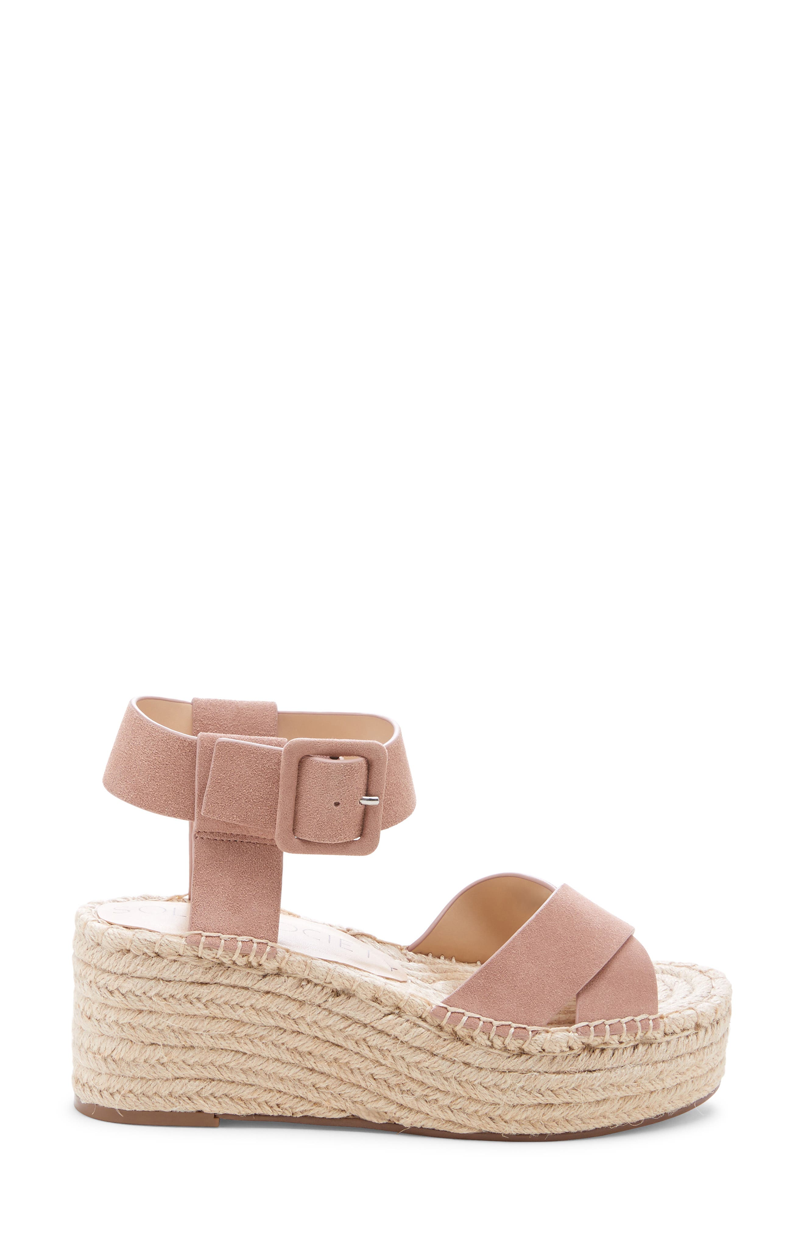 SOLE SOCIETY, Audrina Platform Espadrille Sandal, Alternate thumbnail 3, color, DUSTY ROSE SUEDE
