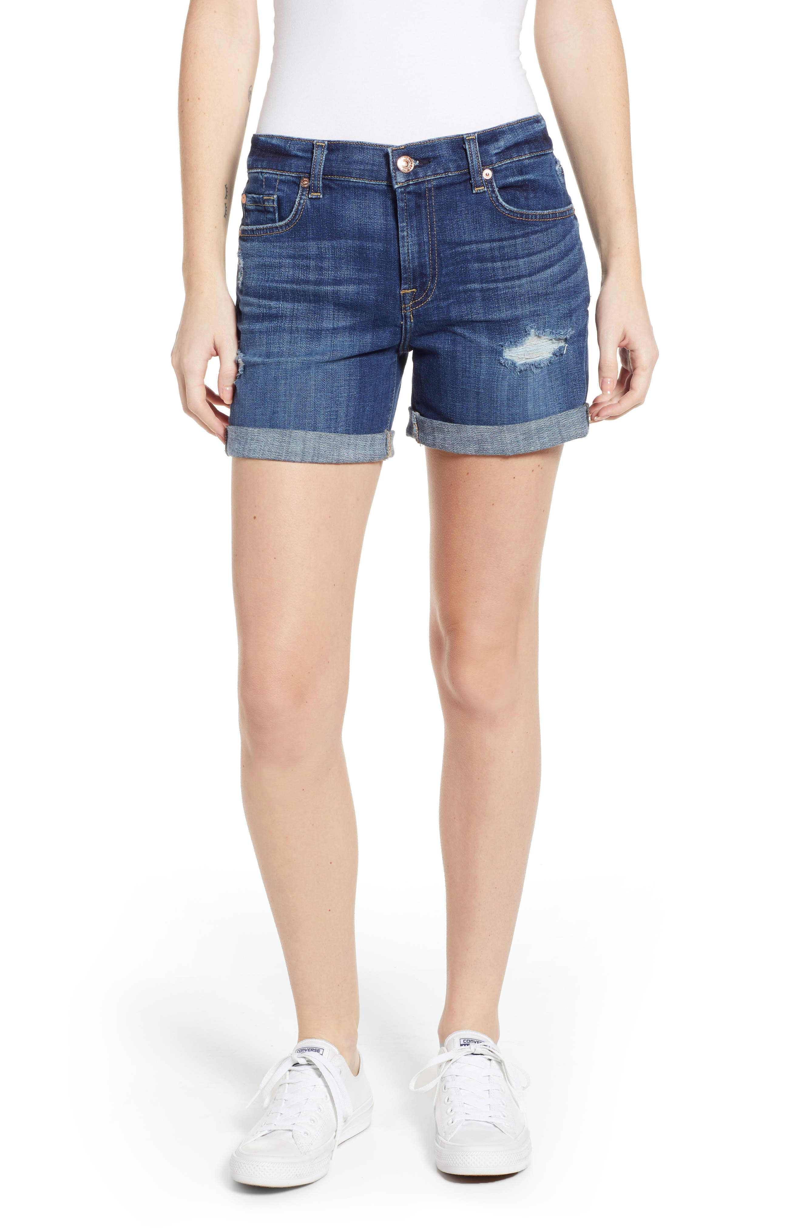 7 FOR ALL MANKIND<SUP>®</SUP>, Roll Cuff Denim Shorts, Main thumbnail 1, color, BROKEN TWILL VANITY W/ DESTROY