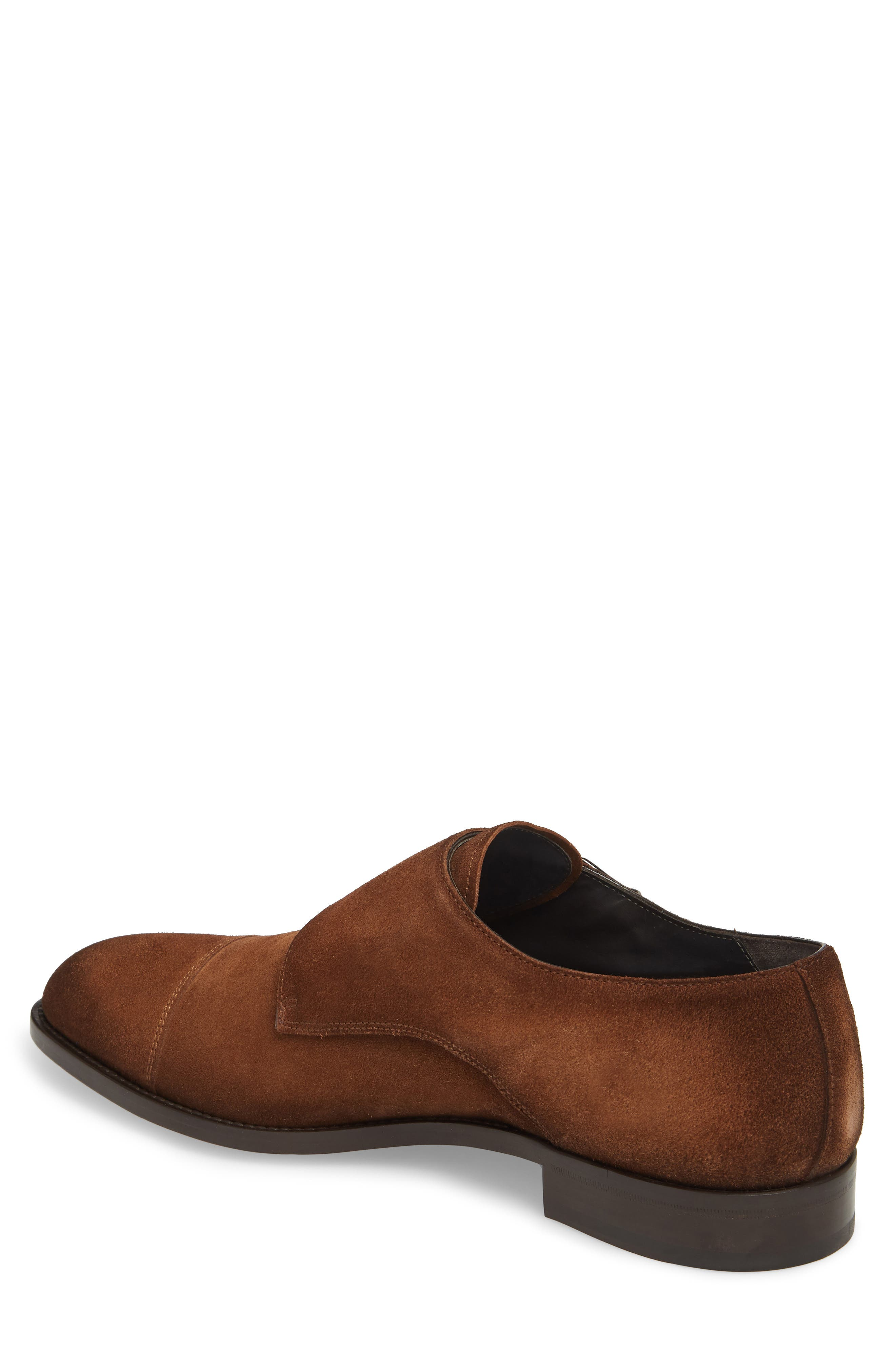 TO BOOT NEW YORK, Quentin Cap Toe Monk Shoe, Alternate thumbnail 2, color, BROWN SUEDE LEATHER