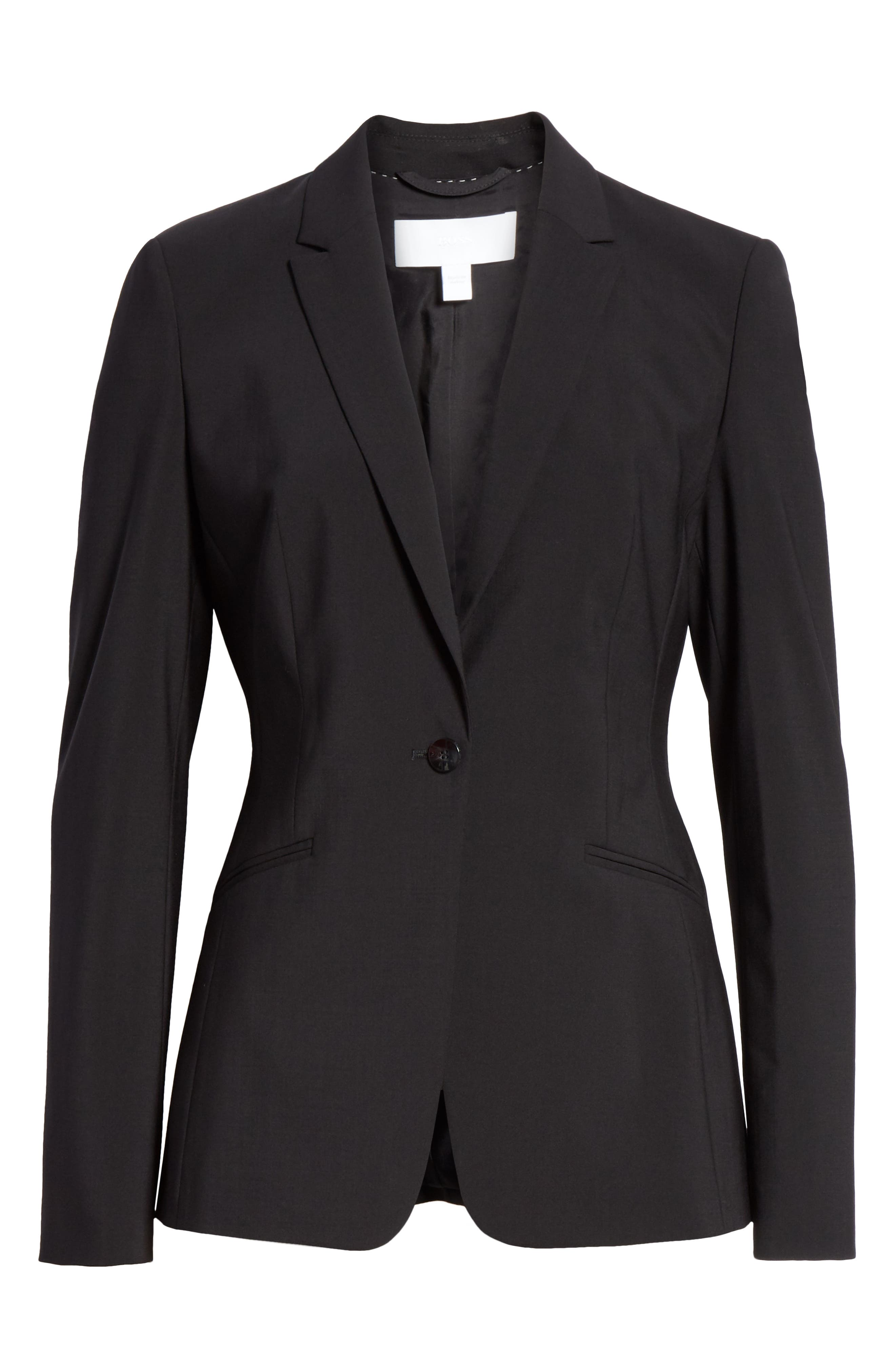 BOSS, Jabina Tropical Stretch Wool Jacket, Alternate thumbnail 6, color, BLACK