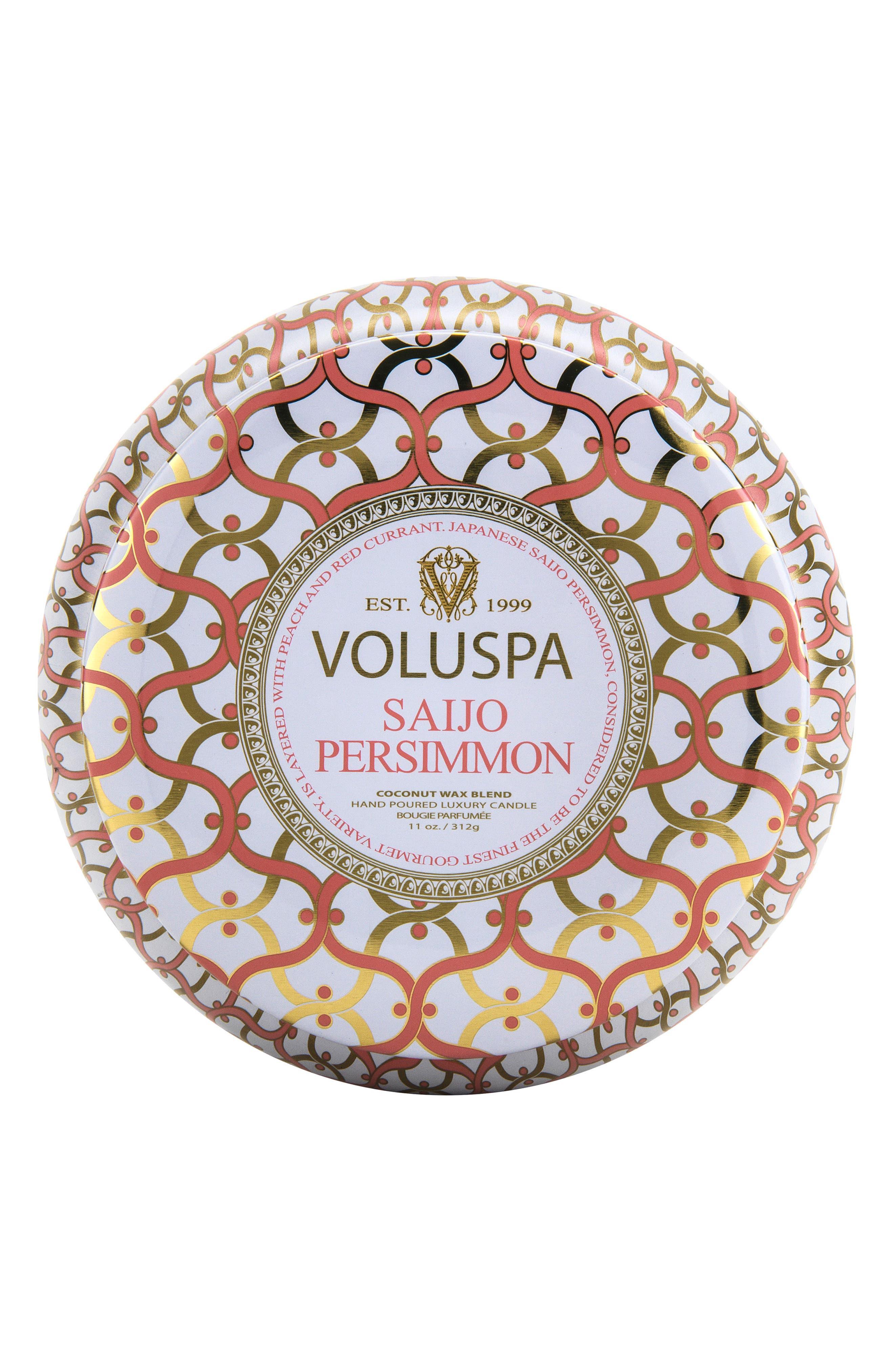 VOLUSPA Maison Blanc Saijo Persimmon Maison Metallo 2-Wick Candle, Main, color, NO COLOR
