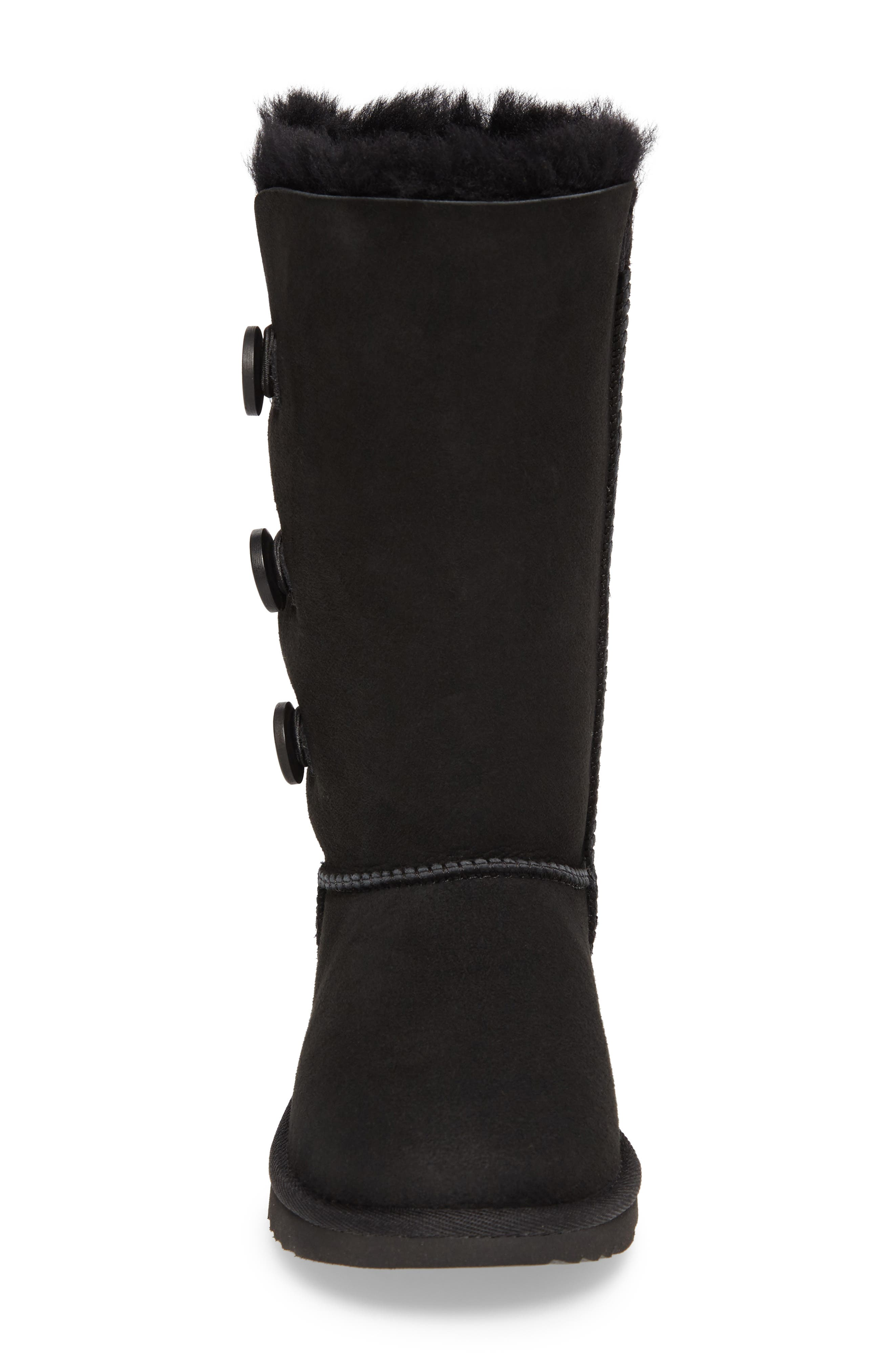 UGG<SUP>®</SUP>, Bailey Button Triplet II Genuine Shearling Boot, Alternate thumbnail 4, color, BLACK SUEDE
