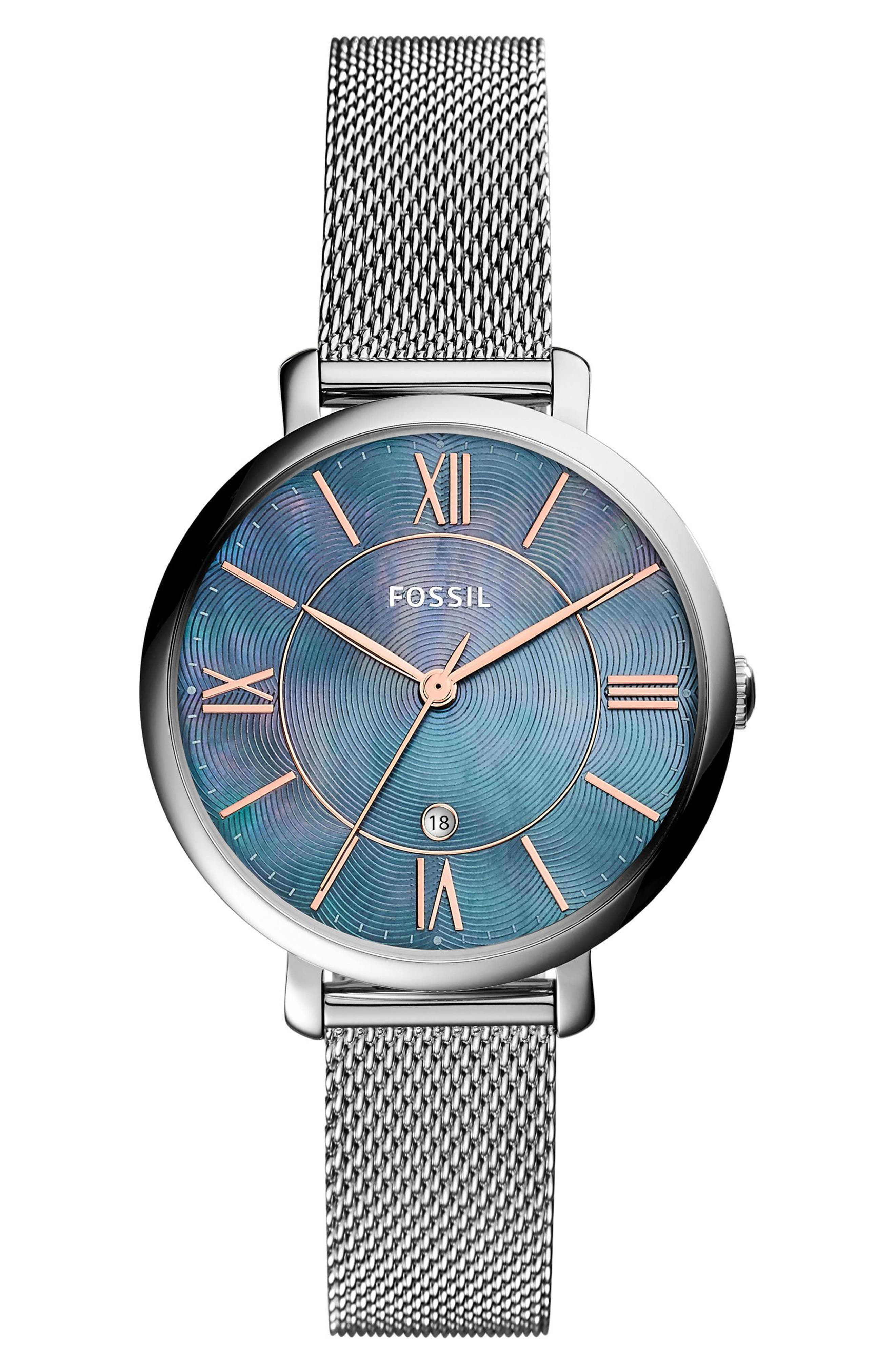 FOSSIL Jacqueline Mesh Strap Watch, 36mm, Main, color, SILVER/ BLUE