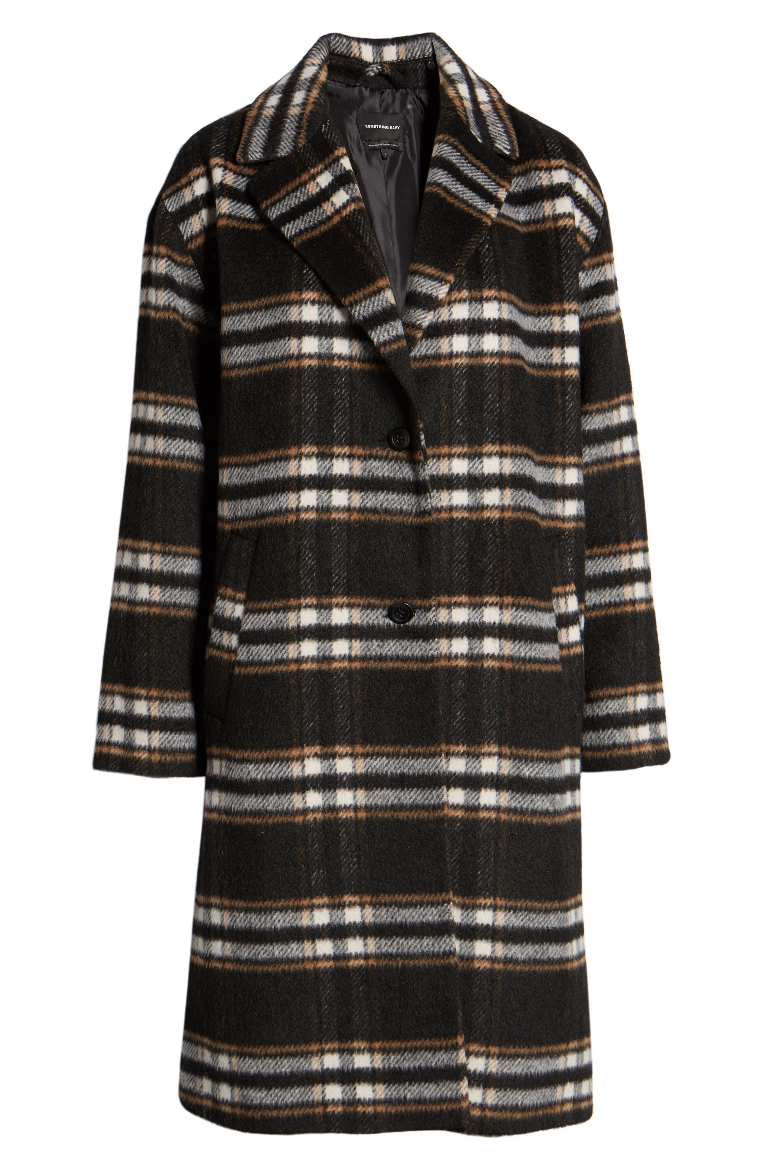 SOMETHING NAVY, Longline Plaid Coat, Alternate thumbnail 6, color, BLACK PLAID