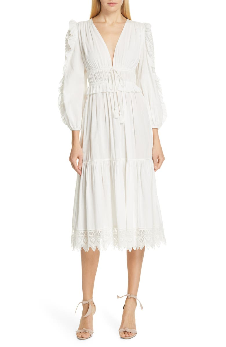 Ulla Johnson Dresses Sheila Lace Sleeve Midi Dress