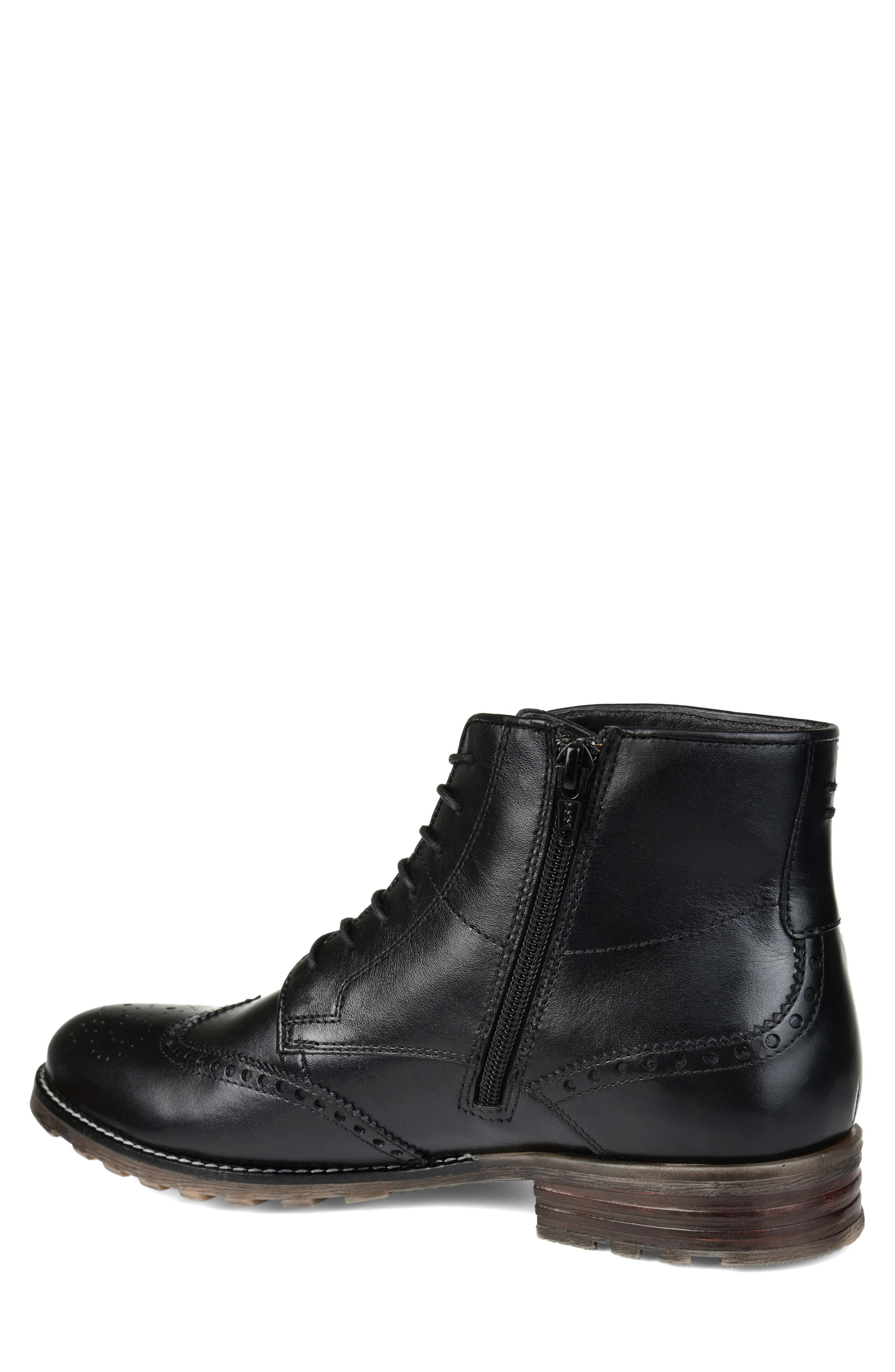 THOMAS AND VINE, Ryker Wingtip Boot, Alternate thumbnail 2, color, BLACK LEATHER