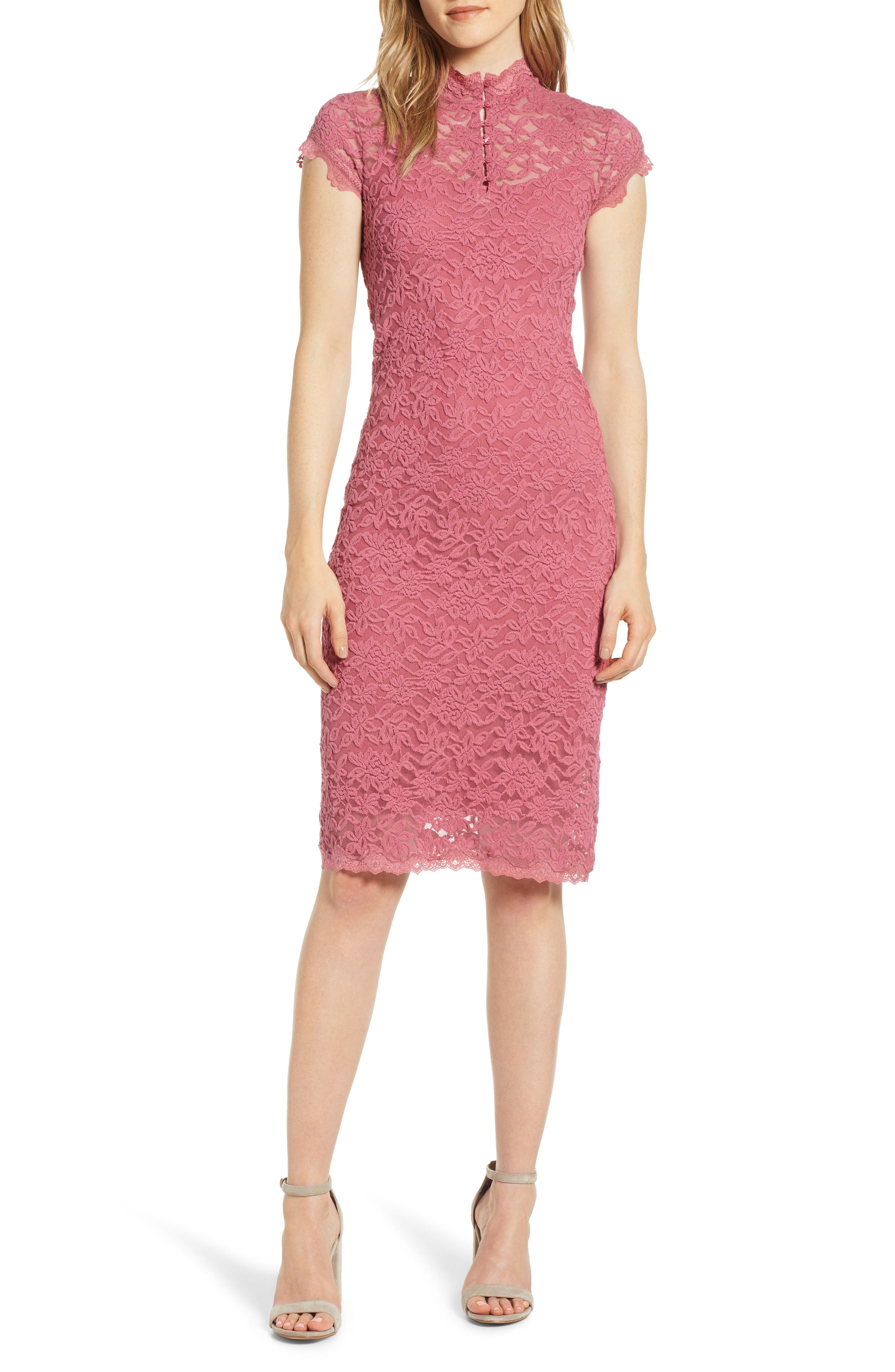 ROSEMUNDE, Delicia Lace Body-Con Dress, Main thumbnail 1, color, ROSEWINE 356