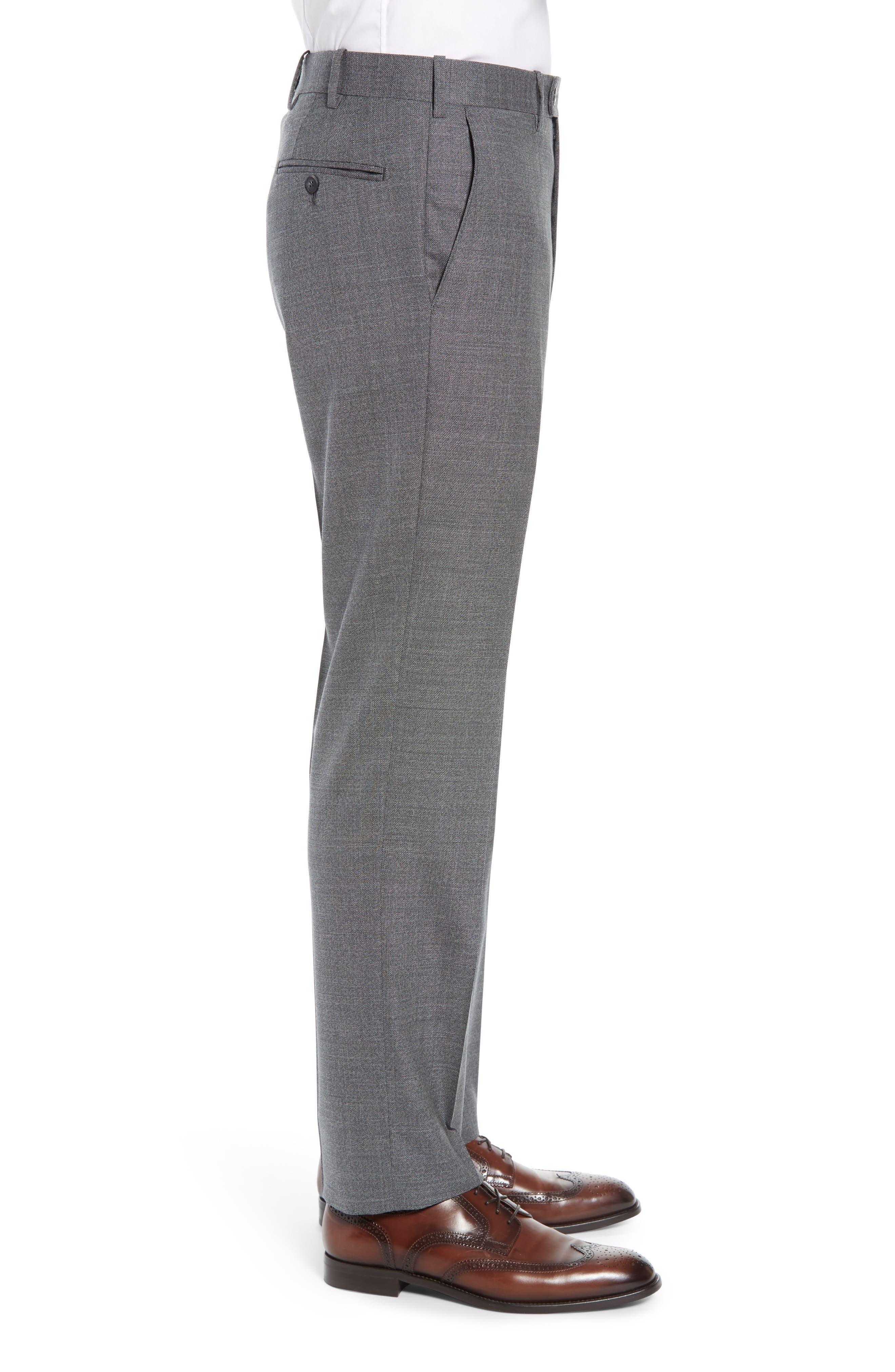 JOHN W. NORDSTROM<SUP>®</SUP>, Torino Flat Front Solid Wool Trousers, Alternate thumbnail 3, color, GREY PHANTOM BASKET WEAVE