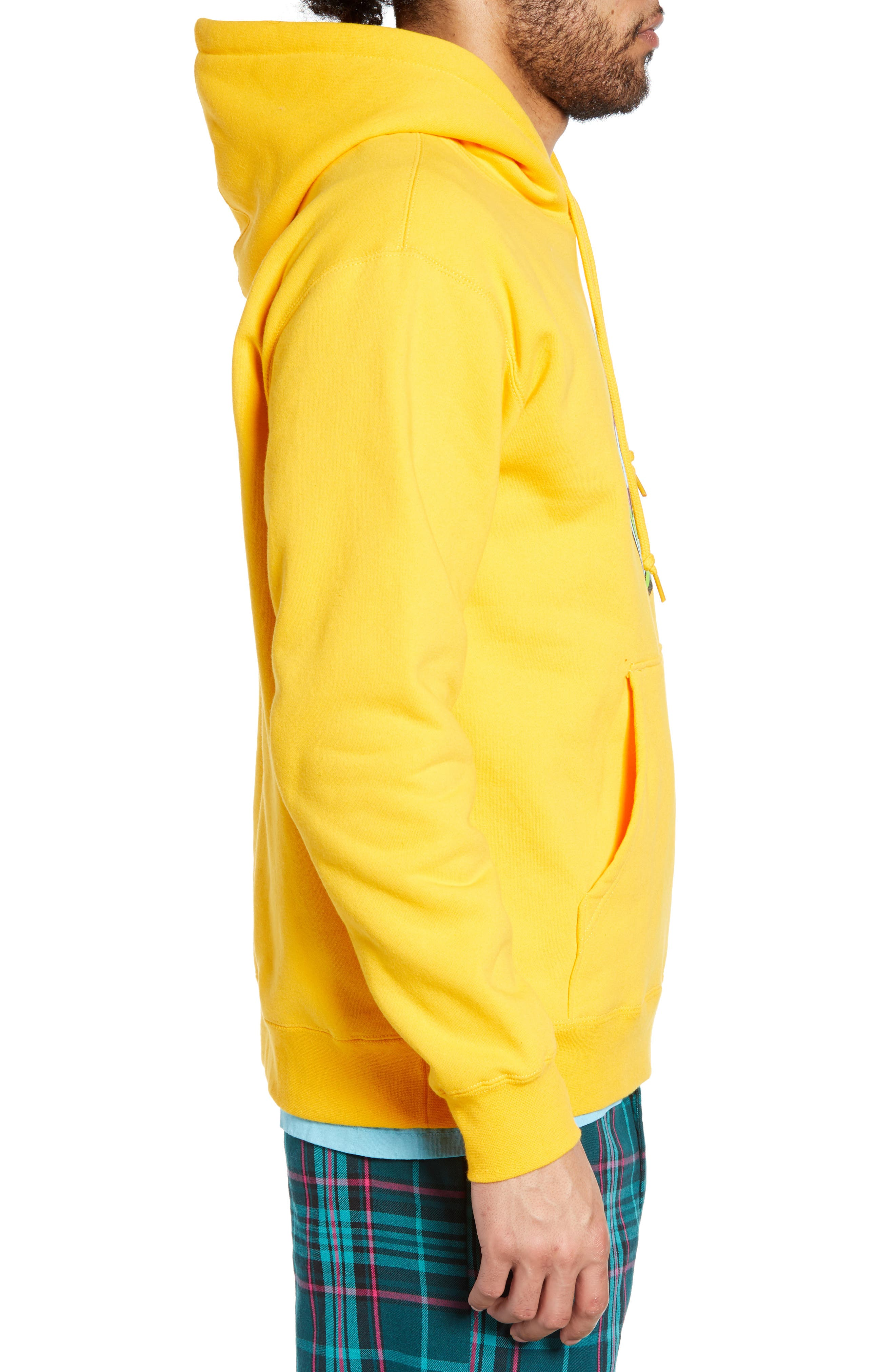 OBEY, Ball Hooded Sweatshirt, Alternate thumbnail 3, color, GOLD