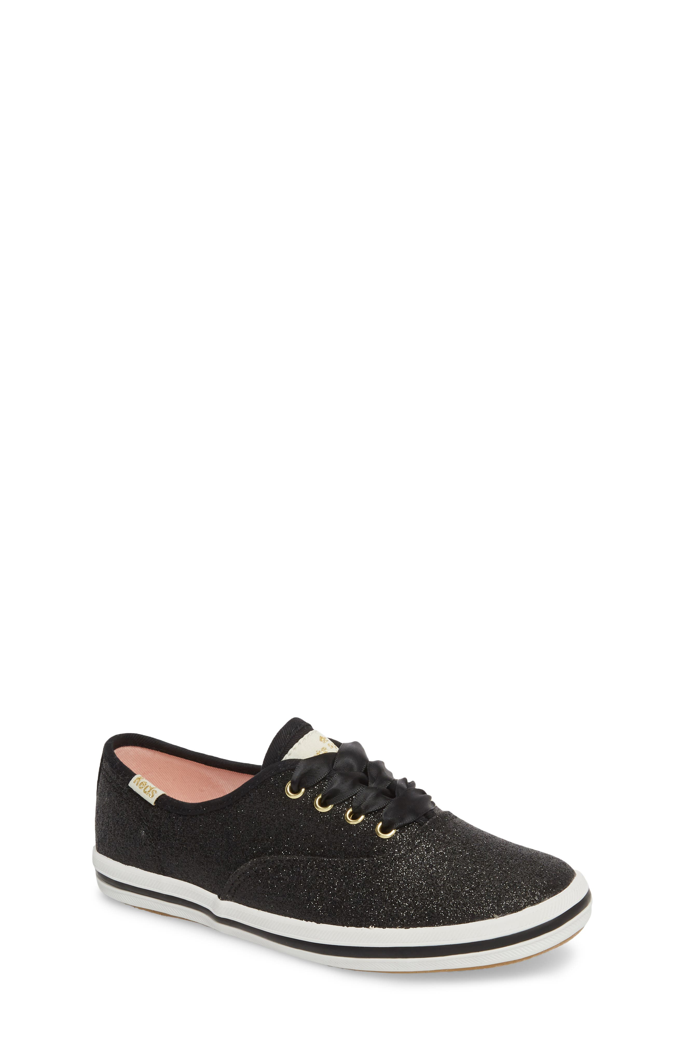 KEDS<SUP>®</SUP>, x kate spade new york Champion Glitter Sneaker, Main thumbnail 1, color, BLACK