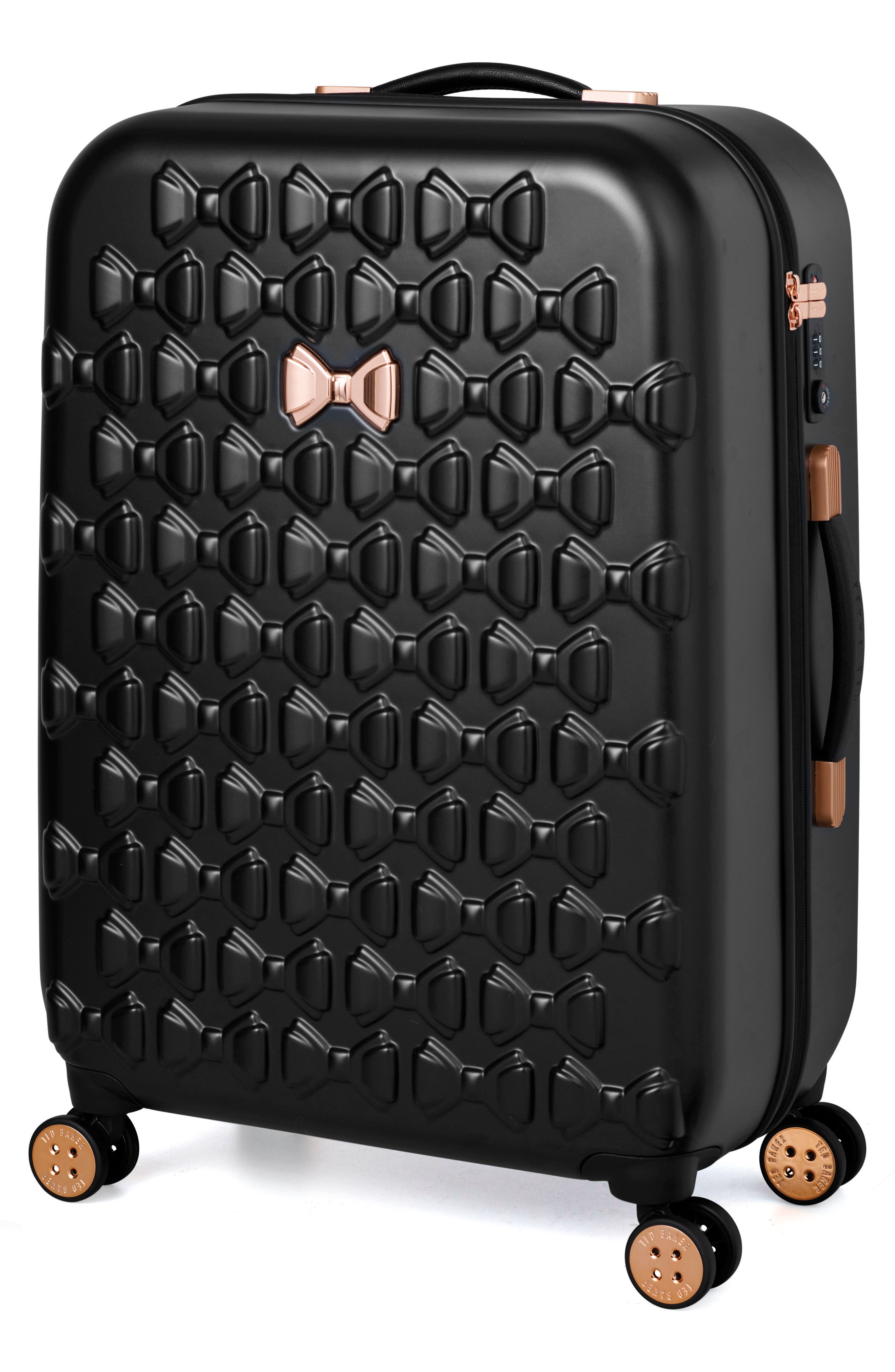 TED BAKER LONDON, Small Beau 22-Inch Bow Embossed Four-Wheel Trolley Suitcase, Alternate thumbnail 7, color, BLACK