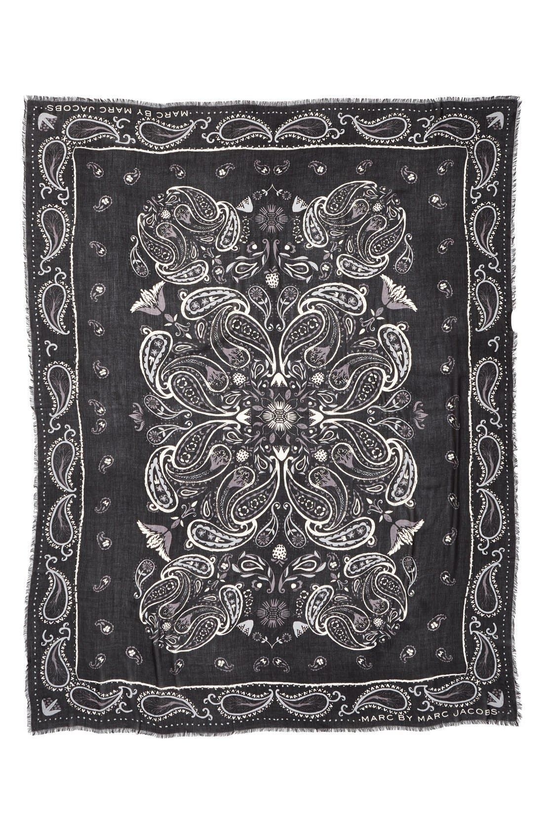 MARC JACOBS, MARC BY MARC JACOBS 'William' Paisley PrintScarf, Alternate thumbnail 4, color, 001