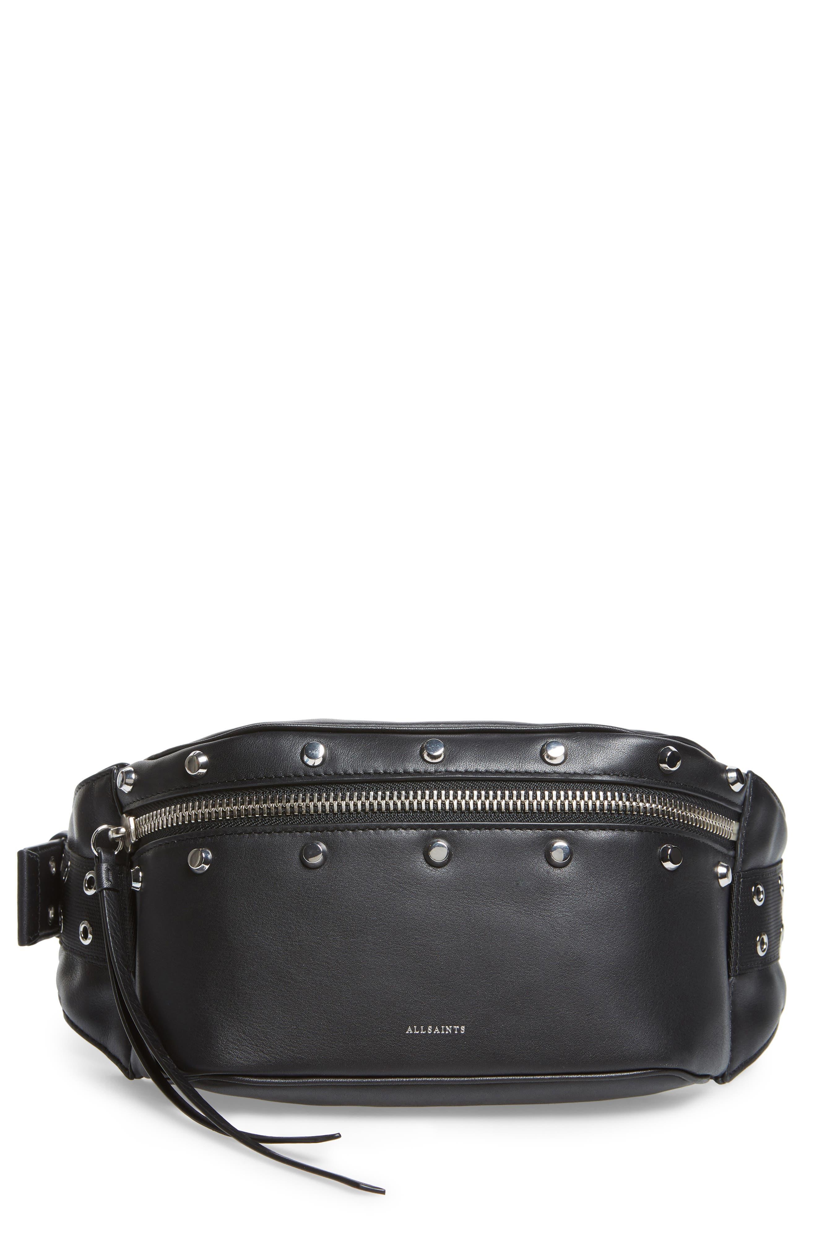ALLSAINTS, Studded Leather Belt Bag, Main thumbnail 1, color, 001